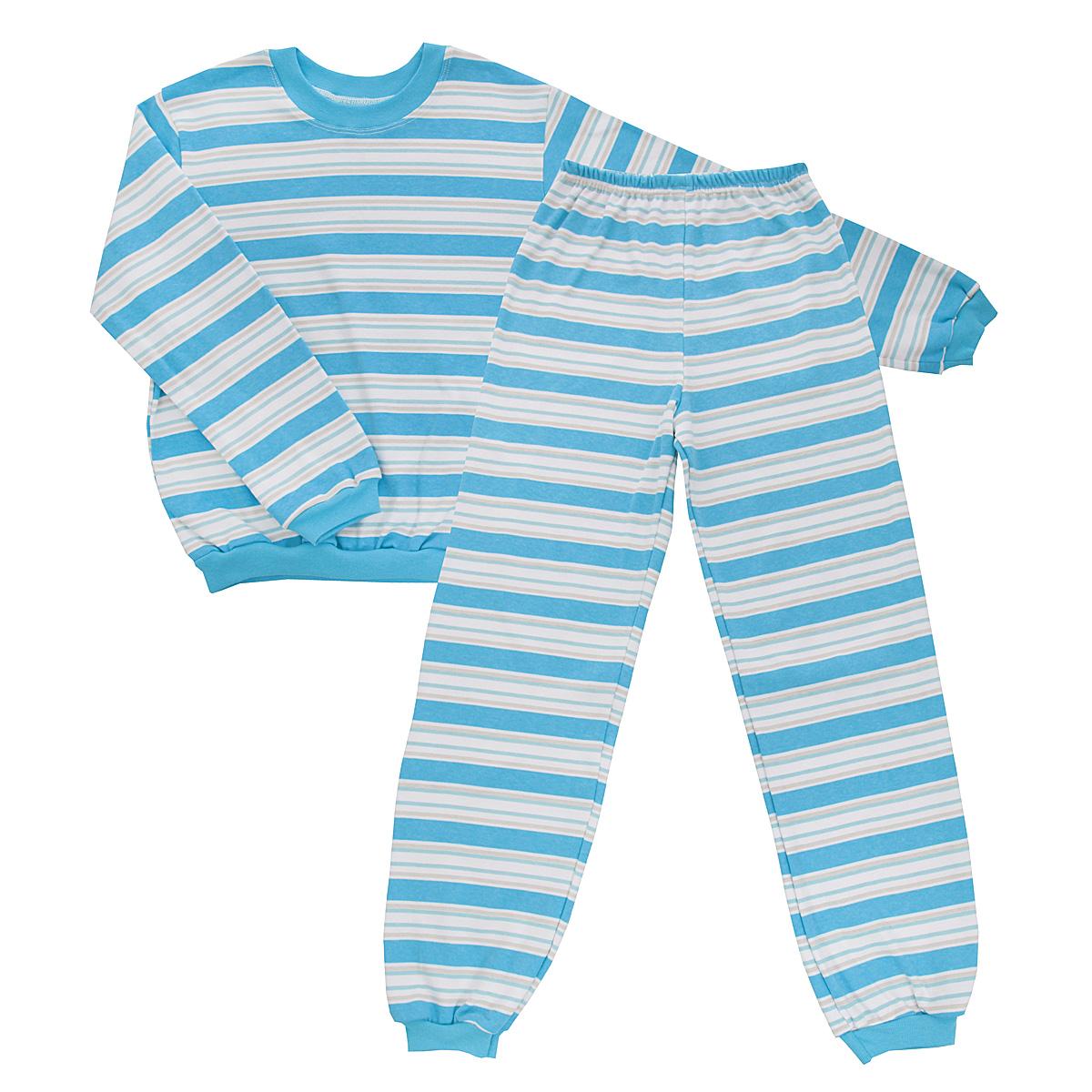 Пижама5555_полоскаУютная детская пижама Трон-плюс, состоящая из джемпера и брюк, идеально подойдет вашему ребенку и станет отличным дополнением к детскому гардеробу. Изготовленная из интерлока, она необычайно мягкая и легкая, не сковывает движения, позволяет коже дышать и не раздражает даже самую нежную и чувствительную кожу ребенка. Трикотажный джемпер с длинными рукавами имеет круглый вырез горловины. Низ изделия, рукава и вырез горловины дополнены эластичной трикотажной резинкой контрастного цвета. Брюки на талии имеют эластичную резинку, благодаря чему не сдавливают живот ребенка и не сползают. Низ брючин дополнен широкими эластичными манжетами контрастного цвета. Оформлено изделие принтом в полоску. В такой пижаме ваш ребенок будет чувствовать себя комфортно и уютно во время сна.