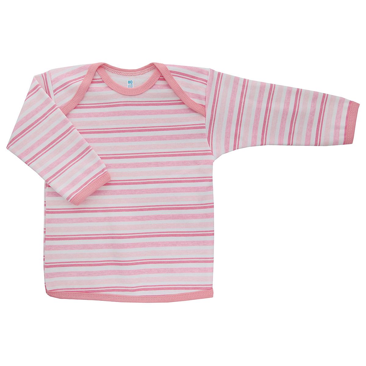 Футболка с длинным рукавом детская Трон-плюс, цвет: розовый, белый. 5611_полоска. Размер 86, 18 месяцев5611_полоскаУдобная детская футболка Трон-плюс с длинными рукавами послужит идеальным дополнением к гардеробу вашего ребенка, обеспечивая ему наибольший комфорт. Изготовленная из интерлока - натурального хлопка, она необычайно мягкая и легкая, не раздражает нежную кожу ребенка и хорошо вентилируется, а эластичные швы приятны телу ребенка и не препятствуют его движениям. Удобные запахи на плечах помогают легко переодеть младенца. Горловина, низ модели и низ рукавов дополнены трикотажной бейкой. Спинка модели незначительно укорочена. Оформлено изделие принтом в полоску. Футболка полностью соответствует особенностям жизни ребенка в ранний период, не стесняя и не ограничивая его в движениях.
