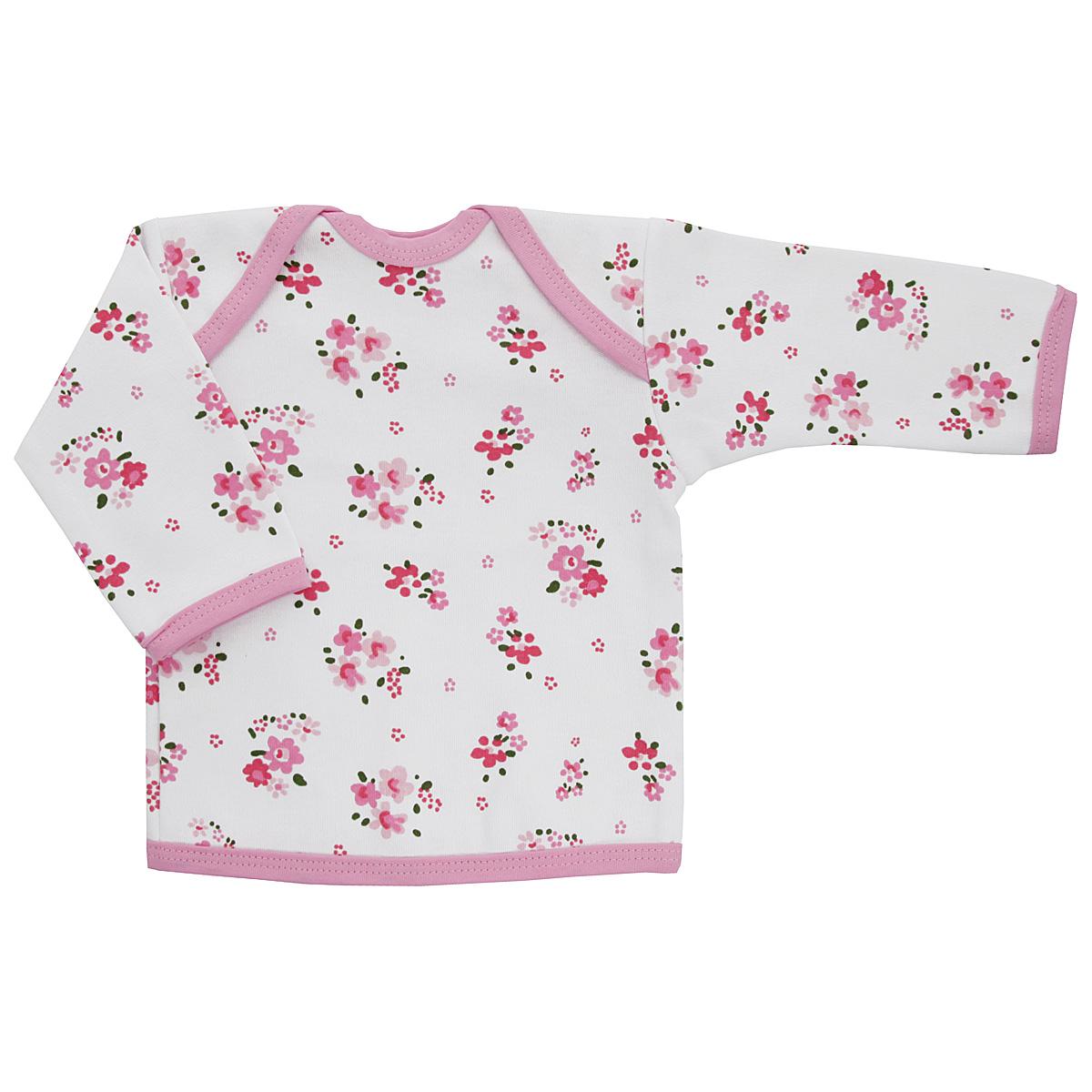 Футболка5611_цветыУдобная футболка для девочки Трон-плюс с длинными рукавами послужит идеальным дополнением к гардеробу вашей малышки, обеспечивая ей наибольший комфорт. Изготовленная из интерлока - натурального хлопка, она необычайно мягкая и легкая, не раздражает нежную кожу ребенка и хорошо вентилируется, а эластичные швы приятны телу ребенка и не препятствуют его движениям. Удобные запахи на плечах помогают легко переодеть младенца. Горловина, низ модели и низ рукавов дополнены трикотажной бейкой. Спинка модели незначительно укорочена. Оформлено изделие цветочным принтом. Футболка полностью соответствует особенностям жизни ребенка в ранний период, не стесняя и не ограничивая его в движениях.