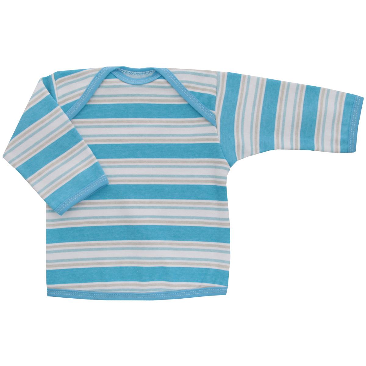 Футболка с длинным рукавом детская Трон-плюс, цвет: голубой, белый. 5611_полоска. Размер 74, 9 месяцев5611_полоскаУдобная детская футболка Трон-плюс с длинными рукавами послужит идеальным дополнением к гардеробу вашего ребенка, обеспечивая ему наибольший комфорт. Изготовленная из интерлока - натурального хлопка, она необычайно мягкая и легкая, не раздражает нежную кожу ребенка и хорошо вентилируется, а эластичные швы приятны телу ребенка и не препятствуют его движениям. Удобные запахи на плечах помогают легко переодеть младенца. Горловина, низ модели и низ рукавов дополнены трикотажной бейкой. Спинка модели незначительно укорочена. Оформлено изделие принтом в полоску. Футболка полностью соответствует особенностям жизни ребенка в ранний период, не стесняя и не ограничивая его в движениях.