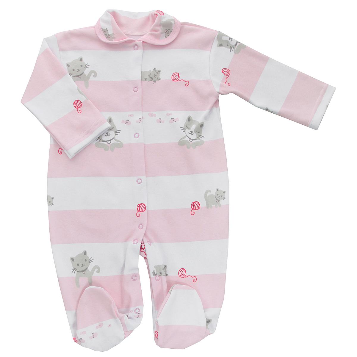 Комбинезон детский Трон-плюс, цвет: белый, розовый. 5815_котенок, полоска. Размер 74, 9 месяцев5815_котенок, полоскаДетский комбинезон Трон-Плюс - очень удобный и практичный вид одежды для малышей. Комбинезон выполнен из интерлока - натурального хлопка, благодаря чему он необычайно мягкий и приятный на ощупь, не раздражает нежную кожу ребенка, и хорошо вентилируются, а эластичные швы приятны телу младенца и не препятствуют его движениям. Комбинезон с длинными рукавами, закрытыми ножками и отложным воротничком имеет застежки-кнопки от горловины до щиколоток, которые помогают легко переодеть ребенка или сменить подгузник. Воротник по краю дополнен контрастной бейкой. Оформлено изделие принтом в полоску, а также изображениями котят. С детским комбинезоном спинка и ножки вашего крохи всегда будут в тепле, он идеален для использования днем и незаменим ночью. Комбинезон полностью соответствует особенностям жизни младенца в ранний период, не стесняя и не ограничивая его в движениях!