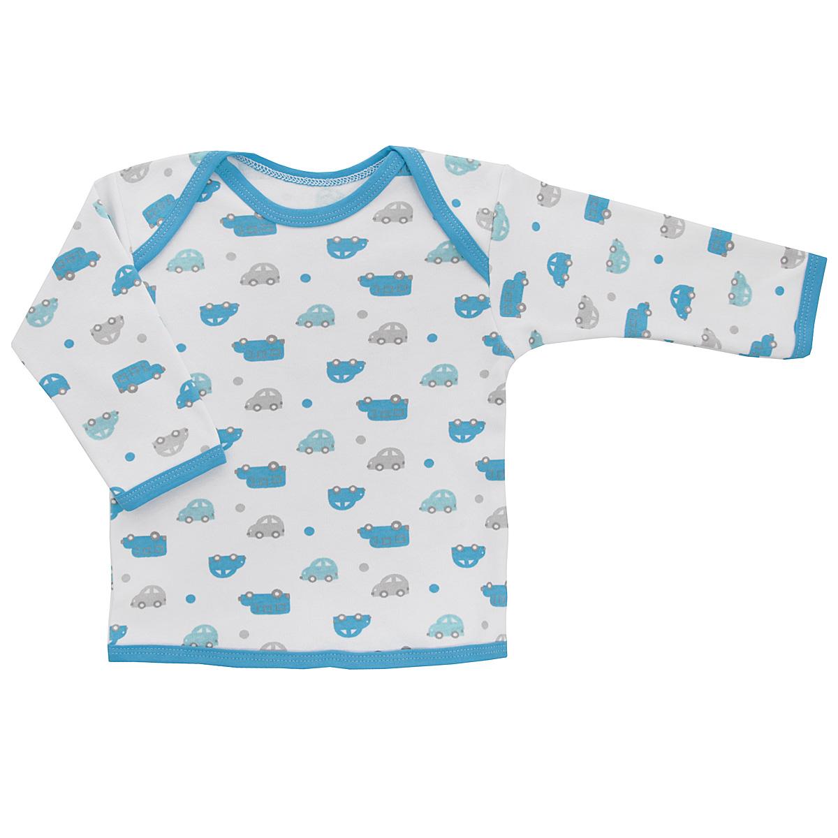 Футболка5611_машинкиУдобная футболка для мальчика Трон-плюс с длинными рукавами послужит идеальным дополнением к гардеробу вашего ребенка, обеспечивая ему наибольший комфорт. Изготовленная из интерлока - натурального хлопка, она необычайно мягкая и легкая, не раздражает нежную кожу ребенка и хорошо вентилируется, а эластичные швы приятны телу ребенка и не препятствуют его движениям. Удобные запахи на плечах помогают легко переодеть младенца. Горловина, низ модели и низ рукавов дополнены трикотажной бейкой. Спинка модели незначительно укорочена. Оформлено изделие принтом с изображениями машинок. Футболка полностью соответствует особенностям жизни ребенка в ранний период, не стесняя и не ограничивая его в движениях.