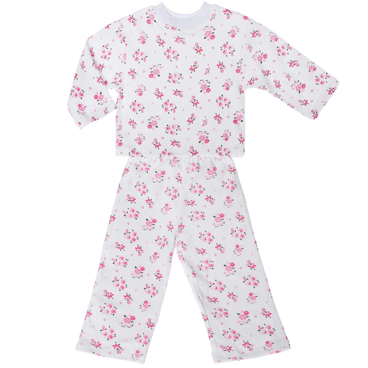 Пижама для девочки Трон-плюс, цвет: белый, розовый. 5584_цветы. Размер 134/140, 9-12 лет5584_цветыУютная пижама для девочки Трон-плюс, состоящая из джемпера и брюк, идеально подойдет вашей дочурке и станет отличным дополнением к детскому гардеробу. Изготовленная из натурального хлопка, она необычайно мягкая и легкая, не сковывает движения, позволяет коже дышать и не раздражает даже самую нежную и чувствительную кожу ребенка. Джемпер с длинными рукавами и круглым вырезом горловины оформлен ненавязчивым цветочным принтом. Вырез горловины дополнен трикотажной эластичной резинкой.Брюки на талии имеют эластичную резинку, благодаря чему не сдавливают живот ребенка и не сползают. Оформлены брючки также ненавязчивым цветочным принтом. В такой пижаме ваш ребенок будет чувствовать себя комфортно и уютно во время сна.