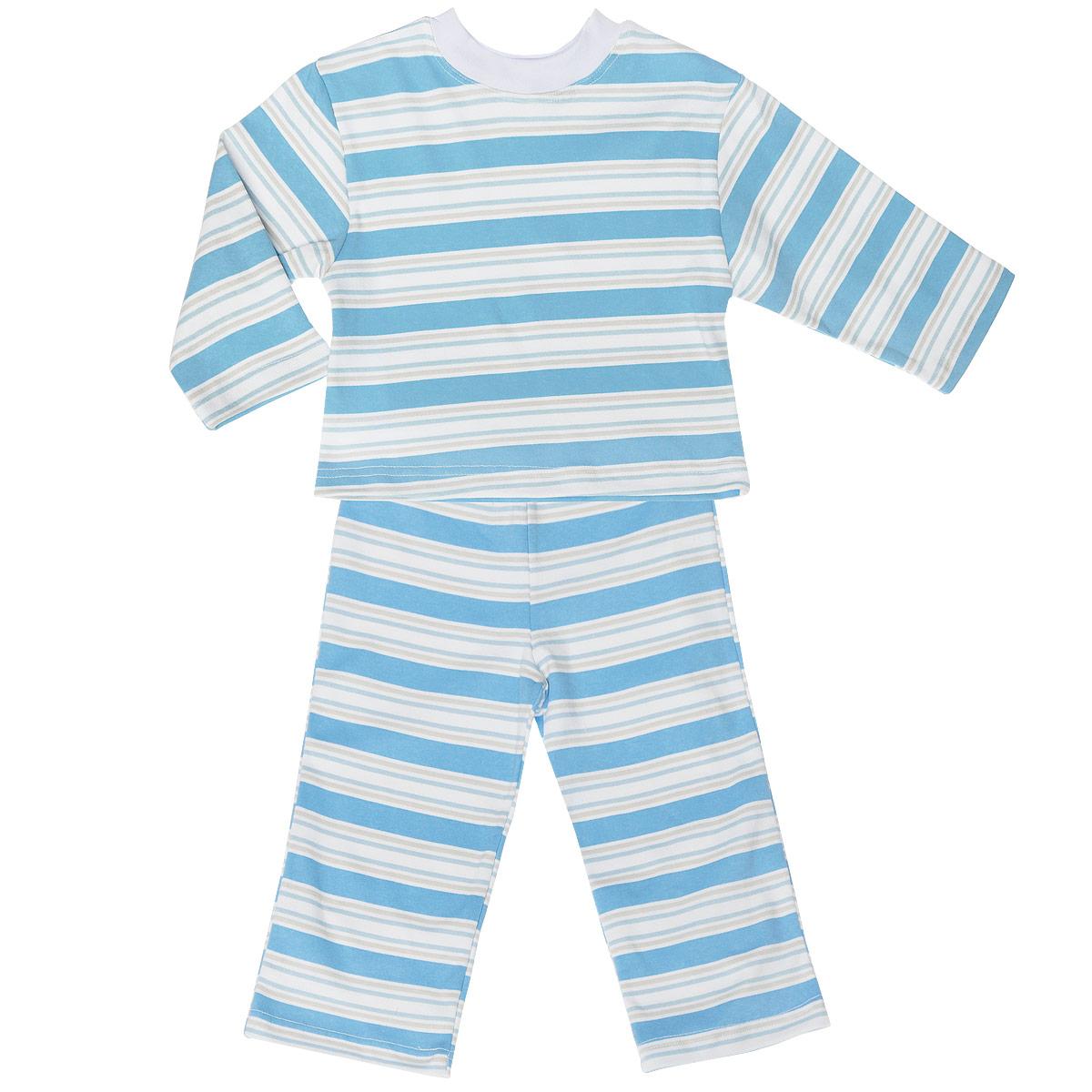 Пижама детская Трон-плюс, цвет: голубой, белый. 5584_полоска. Размер 86/92, 2-3 года5584_полоскаУютная детская пижама Трон-плюс, состоящая из джемпера и брюк, идеально подойдет вашему ребенку и станет отличным дополнением к детскому гардеробу. Изготовленная из натурального хлопка, она необычайно мягкая и легкая, не сковывает движения, позволяет коже дышать и не раздражает даже самую нежную и чувствительную кожу ребенка. Джемпер с длинными рукавами и круглым вырезом горловины оформлен принтом в полоску. Вырез горловины дополнен трикотажной эластичной резинкой. Брюки на талии имеют эластичную резинку, благодаря чему не сдавливают живот ребенка и не сползают. Оформлены брючки также принтом в полоску. В такой пижаме ваш ребенок будет чувствовать себя комфортно и уютно во время сна.