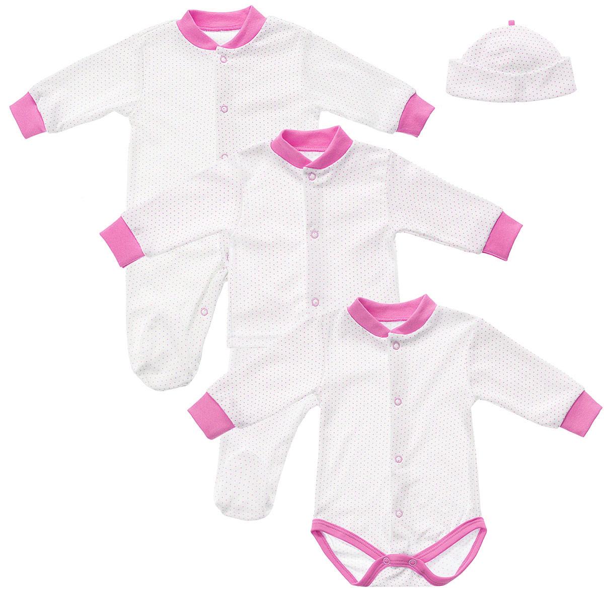 Комплект одежды33С-2Комплект одежды для девочки Фреш Стайл Горошинка прекрасно подойдет вашей малышке. Он включает в себя комбинезон, боди с длинным рукавом, кофточку, ползунки и шапочку. Изготовлен комплект из натурального хлопка, благодаря чему он необычайно мягкий, не раздражает нежную кожу ребенка и хорошо вентилируется, а эластичные швы приятны телу крохи и не препятствуют ее движениям. Оформлен комплект принтом в мелкий горошек. Комбинезон с длинными рукавами, V-образным вырезом горловины и закрытыми ножками от горловины до щиколотки застегивается на металлические застежки-кнопки, что позволит легко переодеть кроху или сменить подгузник. Рукава и вырез горловины дополнены трикотажной резинкой контрастного цвета. Боди с длинными рукавами и V-образным вырезом горловины спереди по всей длине и на ластовице застегивается на металлические кнопки, что облегчит процесс переодевания или смены подгузника. Рукава и вырез горловины дополнены трикотажной резинкой контрастного цвета. Проймы для...