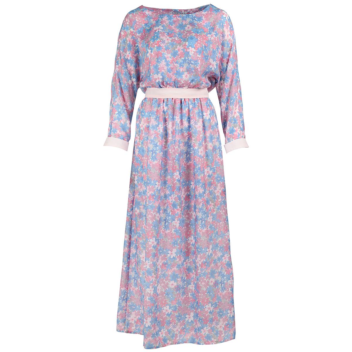 ПлатьеY1108-0146Элегантное платье Yarmina в пол придаст очарование и женственность своей обладательнице. Модель с отрезной талией, круглым вырезом горловины и длинными рукавами-кимоно выполнена из приятной струящейся ткани - вискозы с цветочным принтом. На талии модель собрана на резинку и дополнена изящным пояском. Рукава оформлены манжетами контрастного цвета. Изысканный наряд создаст обворожительный неповторимый образ. Приталенный силуэт подчеркивает стройность фигуры.