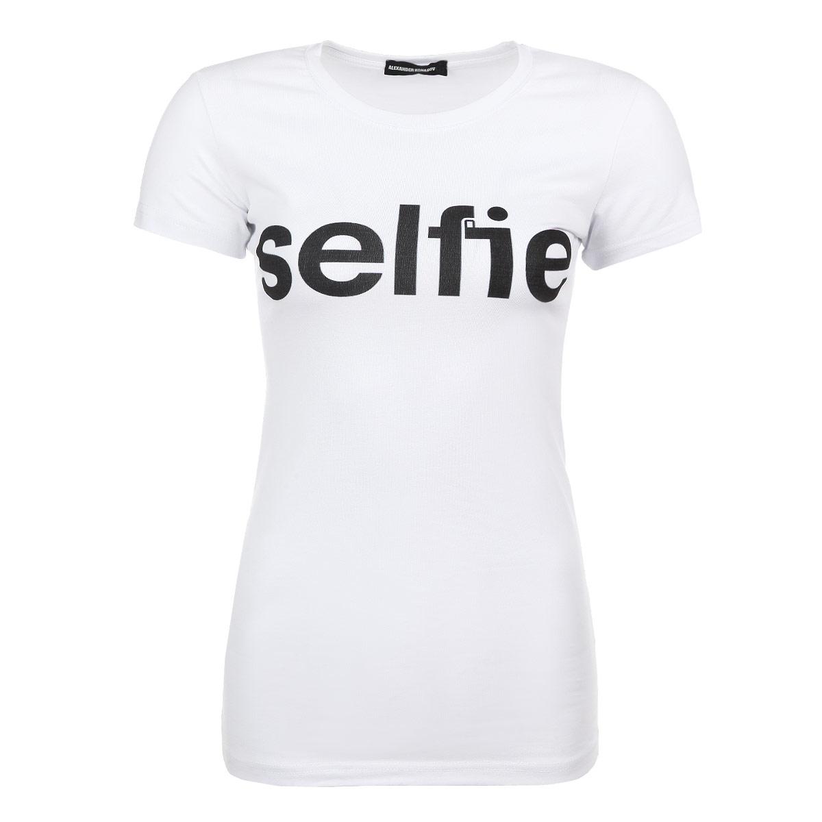 ФутболкаSelfieСтильная женская футболка Alexander Konasov, выполненная из высококачественного мягкого хлопка с небольшим добавлением лайкры, обладает высокой теплопроводностью, воздухопроницаемостью и гигроскопичностью, позволяет коже дышать. Модель с короткими рукавами и круглым вырезом горловины спереди оформлена принтовой надписью Selfie. Эта футболка - идеальный вариант для создания эффектного образа. Все изделия бренда Alexander Konasov кроятся только по лекалам из высококачественной ткани, идеально сидят на фигуре, после стирки не деформируются.