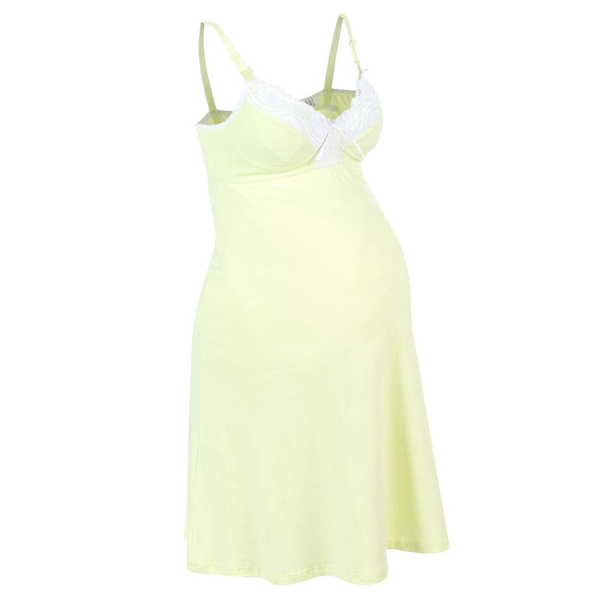 Сорочка ночная для беременных и кормящих Мамин Дом Avocado, цвет: авокадо. 24135. Размер 75Е24135Удобная, красивая ночная сорочка для беременных и кормящих Avocado, изготовленная из эластичного хлопка, женственна и элегантна. Натуральная и деликатная ткань обеспечивает комфортный сон и удобное кормление.Модель на тонких бретелях с V-образным вырезом горловины дополнена мягким и эластичным бюстгальтером с усиленной поддержкой, и украшена на груди атласным бантом. Бретельки регулируются по длине и спереди легко отстегиваются благодаря пластиковым клипсам, что позволяет в любой момент быстро и легко покормить малыша. Свободный крой позволяет носить ночную сорочку, как во время беременности, так и после родов. Такая сорочка сделает сон и отдых будущей мамы комфортным. Одежда, изготовленная из хлопка, приятна к телу, сохраняет тепло в холодное время года и дарит прохладу в теплое, позволяет коже дышать.