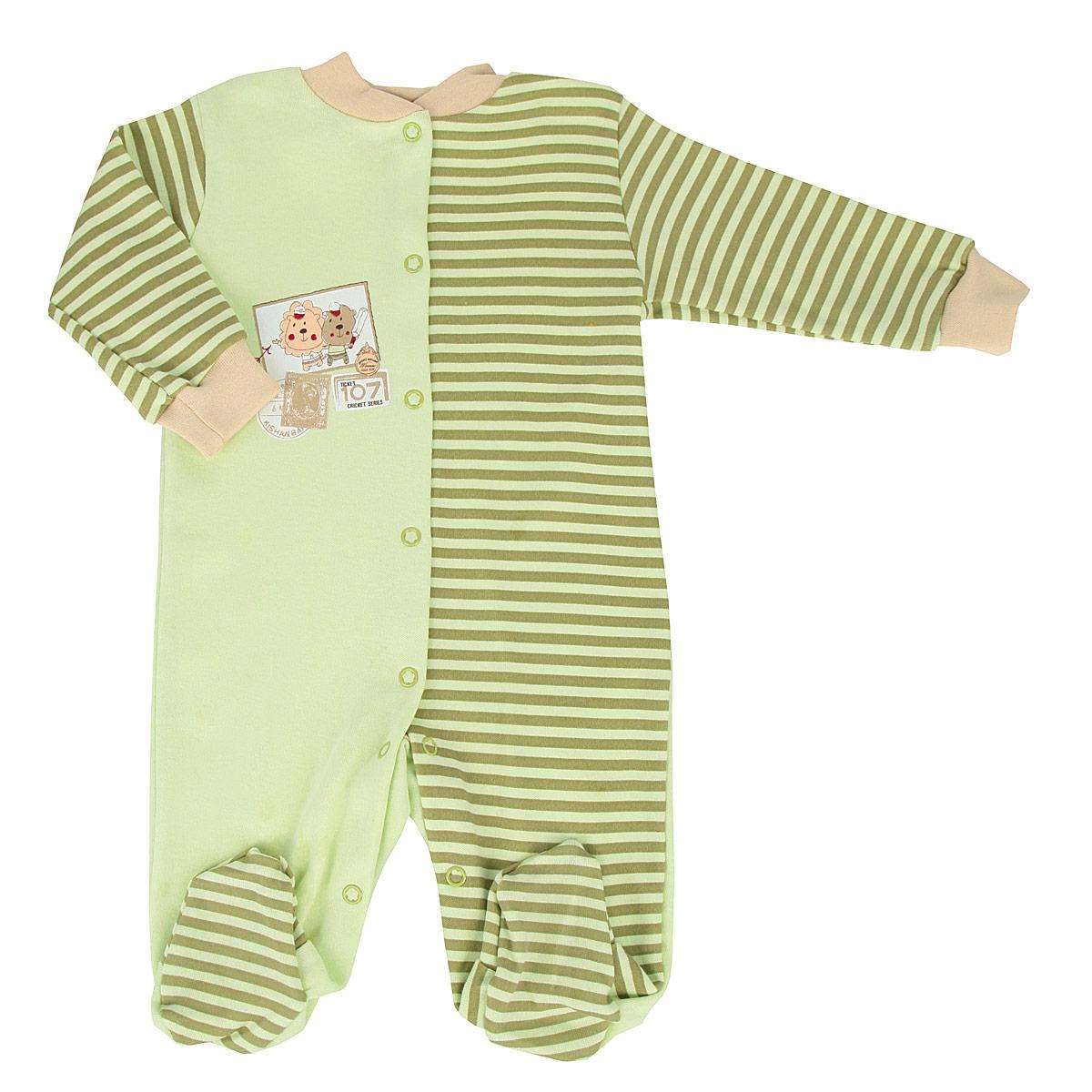 Комбинезон домашний6283Детский комбинезон для мальчика КотМарКот - очень удобный и практичный вид одежды для малышей. Комбинезон выполнен из натурального хлопка, благодаря чему он необычайно мягкий и приятный на ощупь, не раздражает нежную кожу ребенка, хорошо вентилируется, и не препятствует его движениям. Комбинезон с длинными рукавами и закрытыми ножками застегивается при помощи ряда кнопок спереди и по внутреннему шву штанин, что помогает легко переодеть младенца или сменить подгузник. Рукава дополнены широкими трикотажными манжетами, которые мягко обхватывают запястья. Комбинезон декорирован принтом в полоску и оформлен изображением почтовых марок с забавными зверюшками. С этим детским комбинезоном спинка и ножки вашего малыша всегда будут в тепле, он идеален для использования днем и незаменим ночью. Комбинезон полностью соответствует особенностям жизни младенца в ранний период, не стесняя и не ограничивая его в движениях!