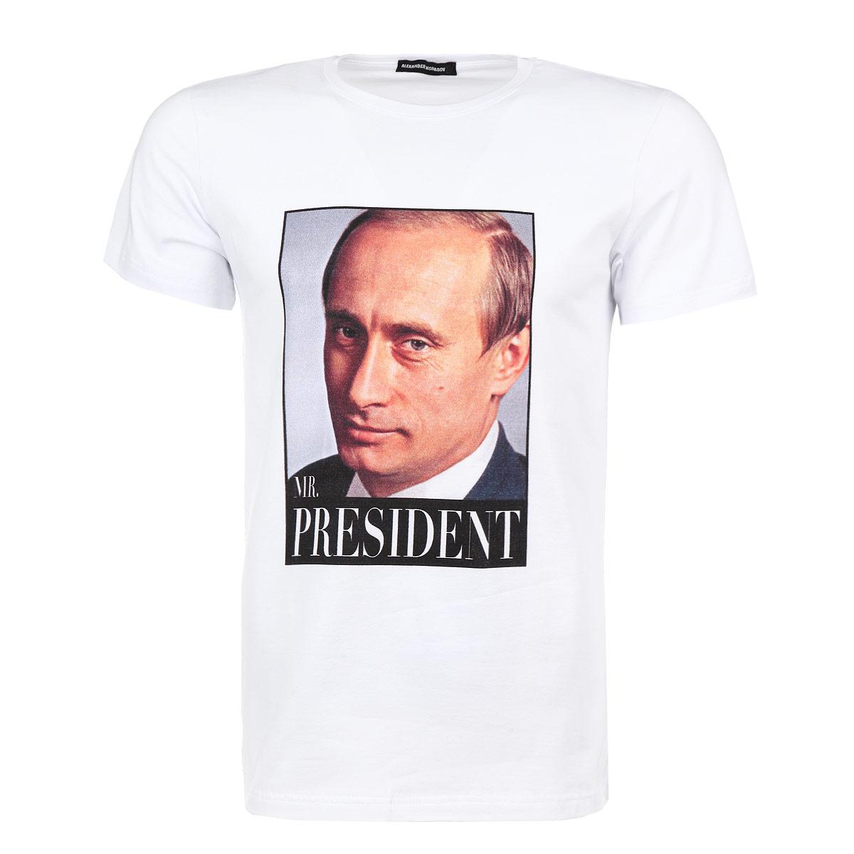 ФутболкаMr. PutinСтильная мужская футболка Alexander Konasov, выполненная из высококачественного мягкого хлопка с небольшим добавлением лайкры, обладает высокой теплопроводностью, воздухопроницаемостью и гигроскопичностью, позволяет коже дышать. Модель с короткими рукавами и круглым вырезом горловины оформлена принтом с изображением портрета Путина и надписью Mr. President. Эта футболка - идеальный вариант для создания эффектного образа. Все изделия бренда Alexander Konasov кроятся только по лекалам из высококачественной ткани, идеально сидят на фигуре, после стирки не деформируются.