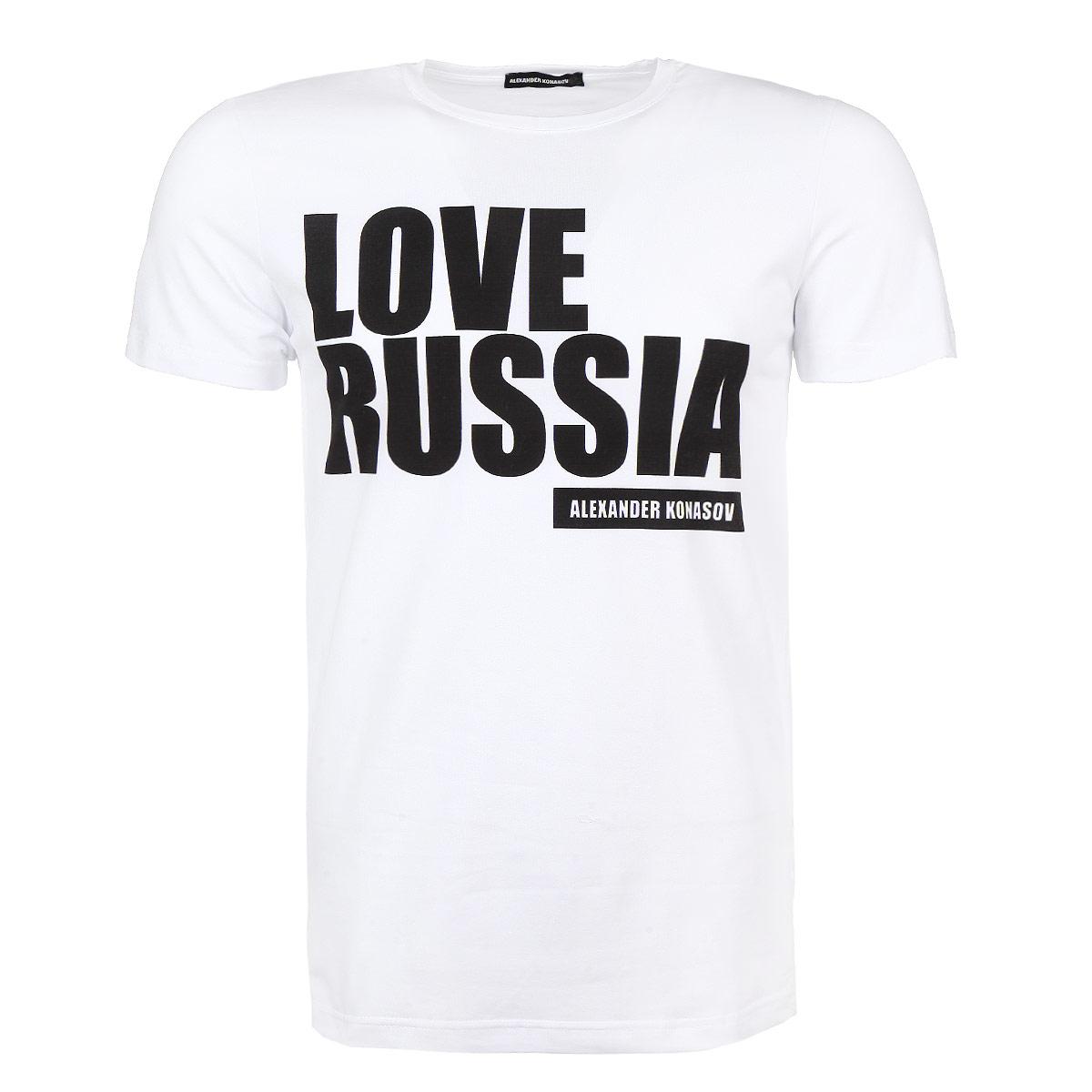ФутболкаLove Russia BlackСтильная мужская футболка Alexander Konasov, выполненная из высококачественного мягкого хлопка с небольшим добавлением лайкры, обладает высокой теплопроводностью, воздухопроницаемостью и гигроскопичностью, позволяет коже дышать. Модель с короткими рукавами и круглым вырезом горловины оформлена принтовой надписью Love Russia. Эта футболка - идеальный вариант для создания эффектного образа. Все изделия бренда Alexander Konasov кроятся только по лекалам из высококачественной ткани, идеально сидят на фигуре, после стирки не деформируются.