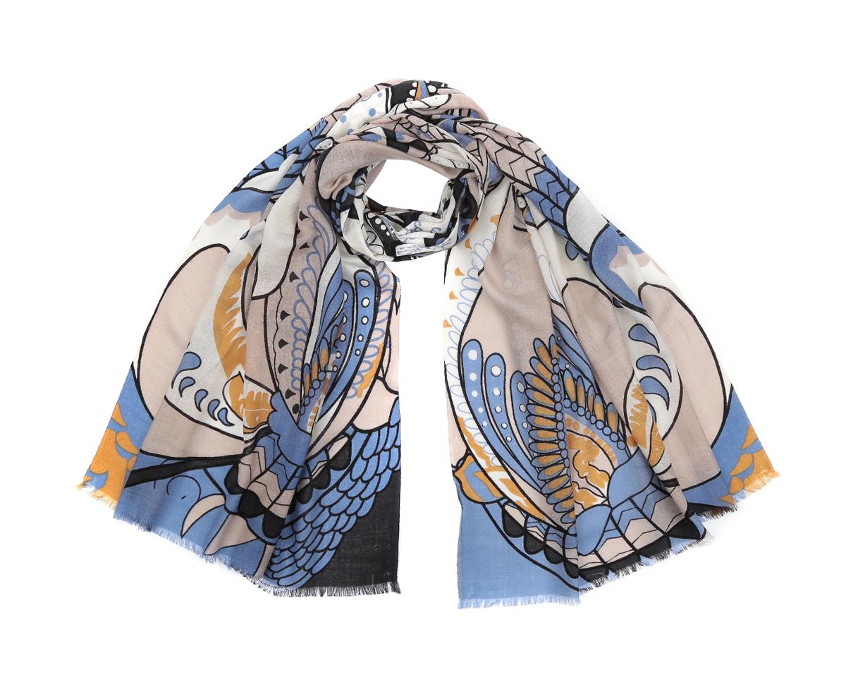 Шарф женский Fabretti, цвет: бежевый, голубой, желтый. YNNT0225-2. Размер 70 см х 188 смYNNT0225-2Стильный шарф от Fabretti согреет и подарит незабываемый комфорт и уют. Купив один-единственный аксессуар, вы можете полностью изменить свой образ, экспериментируя со способами его завязывания и вариациями сочетаний с разными нарядами. Модель легкая с приятной фактурой, изготовлена из мерсеризованной шерсти, благодаря чему полотно шарфа тонкое и теплое. Шарф украшен красивым живописным узором. Края модели выполнены короткой бахромой.Шарф Fabretti гармонично дополнит образ современной женщины следящей за своим имиджем и стремящейся всегда оставаться стильной и элегантной.