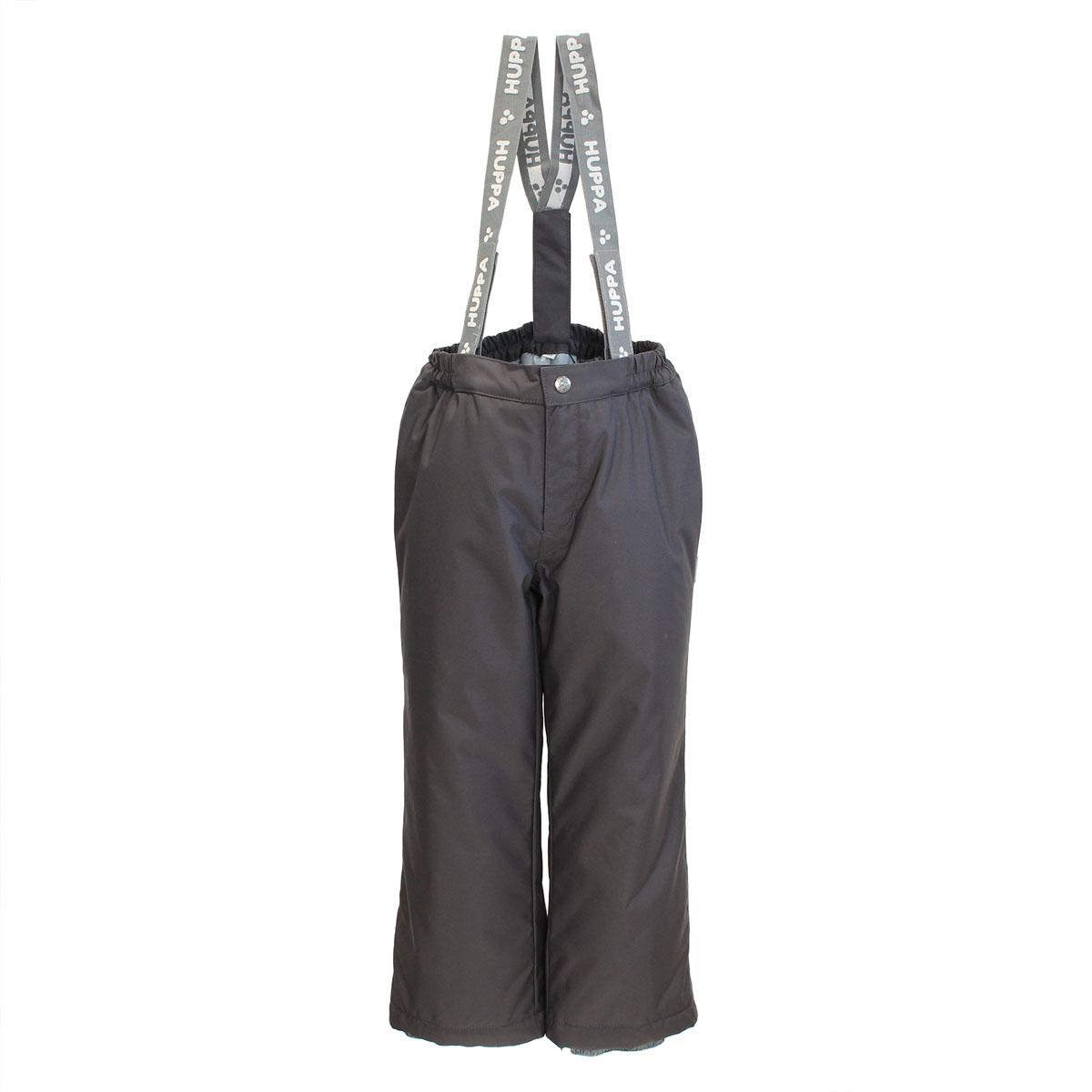 Брюки детские Huppa Freja, цвет: темно-серый. 2170AW01_018. Размер 1042170AW01_018Теплые детские брюки Huppa Freja идеально подойдут для ребенка в холодное время года. Брюки изготовлены из водоотталкивающей и ветрозащитной ткани с утеплителем из HuppaTherm - 100% полиэстера. HuppaTherm - высокотехнологичный легкий синтетический утеплитель нового поколения. Уникальная структура микроволокон не позволяет проникнуть холодному воздуху, в то же время, удерживая теплый между волокнами, обеспечивая высокую теплоизоляцию изделия. Полиуретан с микропорами препятствует прохождению воды и ветра сквозь ткань внутрь изделия, в то же время, позволяя испаряться выделяемой телом влаге. Для максимальной влагонепроницаемости изделия, основные швы проклеены водостойкой лентой. Сплетения волокон в тканях выполнены по специальной технологии, которая придает ткани прочность и предохраняет от истирания. Брюки на талии застегиваются на кнопку и ширинку на застежке-молнии, и имеют съемные эластичные наплечные лямки, регулируемые по длине. На талии предусмотрена широкая эластичная резинка, которая позволяет надежно заправить в брюки водолазку или свитер. Имеются шлевки для ремня. Снизу брючин предусмотрены внутренние манжеты с прорезиненными полосками, препятствующие попаданию снега в обувь и не дающие брюкам ползти вверх. Ширину брючин понизу можно регулировать при помощи скрытых кулисок со стопперами. Изделие оформлено светоотражающими элементами для безопасности в темное время суток. Идеально при температурах от -5°С до -15°С.Комфортные, удобные и практичные брюки идеально подойдут для прогулок и игр на свежем воздухе!
