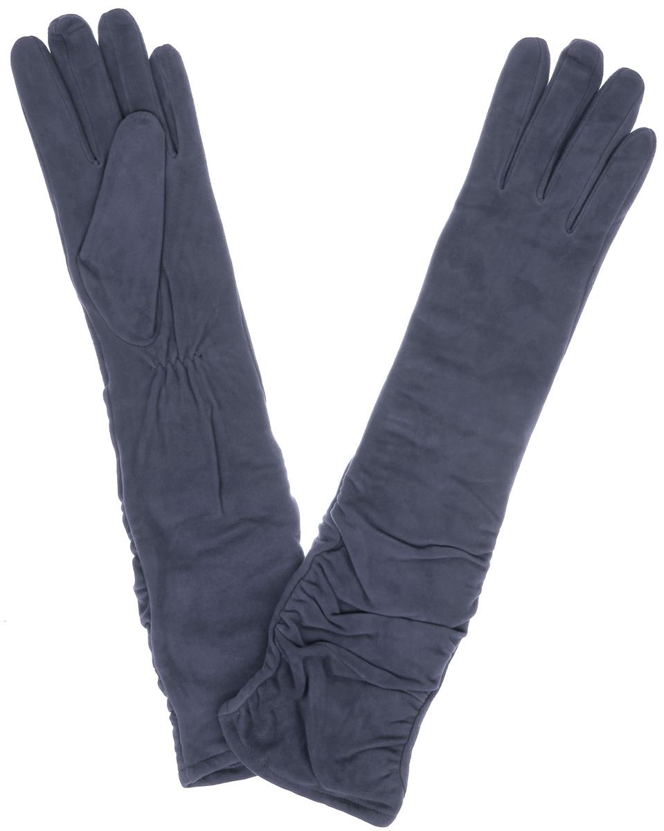 Длинные перчаткиIS02010Элегантные удлиненные женские перчатки Eleganzza станут великолепным дополнением вашего образа и защитят ваши руки от холода и ветра во время прогулок. Перчатки выполнены из натурального нежного велюра и имеют подкладку из шерсти с добавлением акрила, что позволяет им надежно сохранять тепло и обеспечивает высокую гигроскопичность. Перчатки дополнены сборками на запястьях. Удлиненные манжеты подчеркнут изящество ваших рук. Такие перчатки будут оригинальным завершающим штрихом в создании современного модного образа, они подчеркнут ваш изысканный вкус и станут незаменимым и практичным аксессуаром.