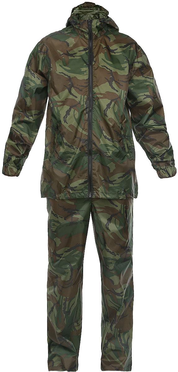 Костюм влагозащитный Picrest Карелия, цвет: камуфляж. КР-48-50. Размер 56/58КР-48-50Влагозащитный костюм Карелия, состоящий из куртки и брюк, изготовлен из высококачественного материала Taffeta c PU покрытием. Ткань Taffeta RipStop изготовлена из полиэфирных (лавсановых) волокон, что делает ее более прочной и более устойчивой к воздействию ультрафиолета. Ткань свободно пропускает влагу и испарения, так как не имеет пленки. RipStop - усиливающая нить, благодаря которой ткань устойчива на разрыв. PU - полиуретановое покрытие, которое обеспечивает водонепроницаемость ткани, ткань выдерживает давление воды, соответствующее 3000 (2000) мм водяного столба. Куртка свободного кроя с капюшоном и длинными рукавами дополнен центральной разъемной застежкой-молнией. Капюшон не отстегивается и регулируется по объему при помощи кулиски. Брюки свободного кроя на талии дополнены затягивающимся шнурком. Эластичная тесьма также вшита в манжеты рукавов. Предусмотрены в куртке врезные карманы на молнии. Костюм идеально подойдет для похода в лес или для работы на даче в дождливую погоду. Костюм упакован в чехол аналогичной расцветки.