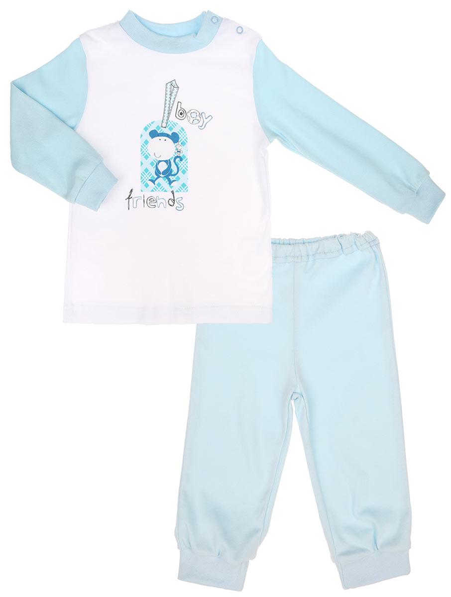 Пижама3255_ОбезьянкаДетская пижама КотМарКот Обезьянка, состоящая из футболки с длинным рукавом и брюк, идеально подойдет вашему ребенку. Выполненная из натурального хлопка, она необычайно мягкая и легкая, не сковывает движения, позволяет коже дышать и не раздражает даже самую нежную и чувствительную кожу ребенка. Футболка с длинными рукавами и круглым вырезом горловины имеет застежки-кнопки по плечевому шву, что помогает с легкостью переодеть ребенка. Вырез горловины и манжеты на рукавах дополнены трикотажными эластичными резинками. Модель оформлена принтом с изображением обезьянки, а также надписью. Брюки прямого кроя на талии имеют эластичную резинку, благодаря чему они не сдавливают животик ребенка и не сползают. Низ брючин дополнен широкими трикотажными манжетами. Пижама станет отличным дополнением к детскому гардеробу. В такой пижаме ваш ребенок будет чувствовать себя комфортно и уютно во время сна.