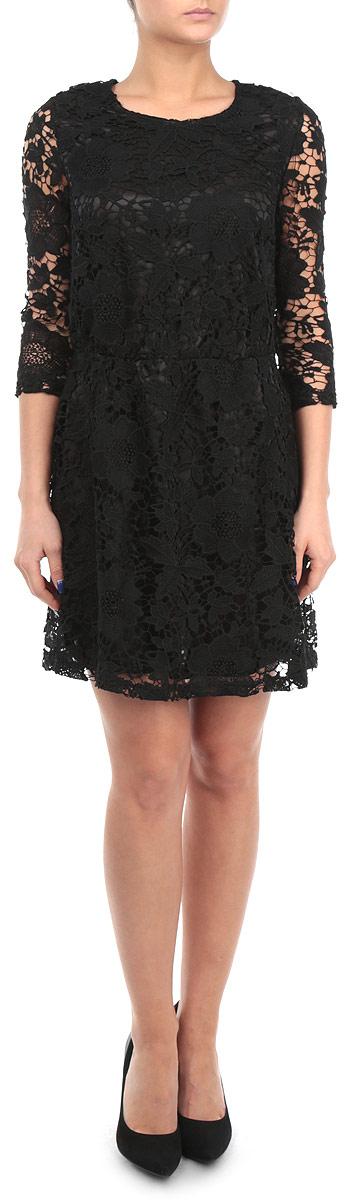 Платье Broadway, цвет: черный. 10153772 999. Размер M (46)10153772 999Изящное платье Broadway никого не оставит равнодушным. Приталенный силуэт и рукав 3/4 позволят подчеркнуть все достоинства вашей фигуры. Модель оформлена кружевом по всей длине изделия, застегивается на застежку-молнию на спинке. Подкладка - из полиэстера. Зона талии оснащена эластичной резинкой.В этом платье вы всегда будете в центре внимания!