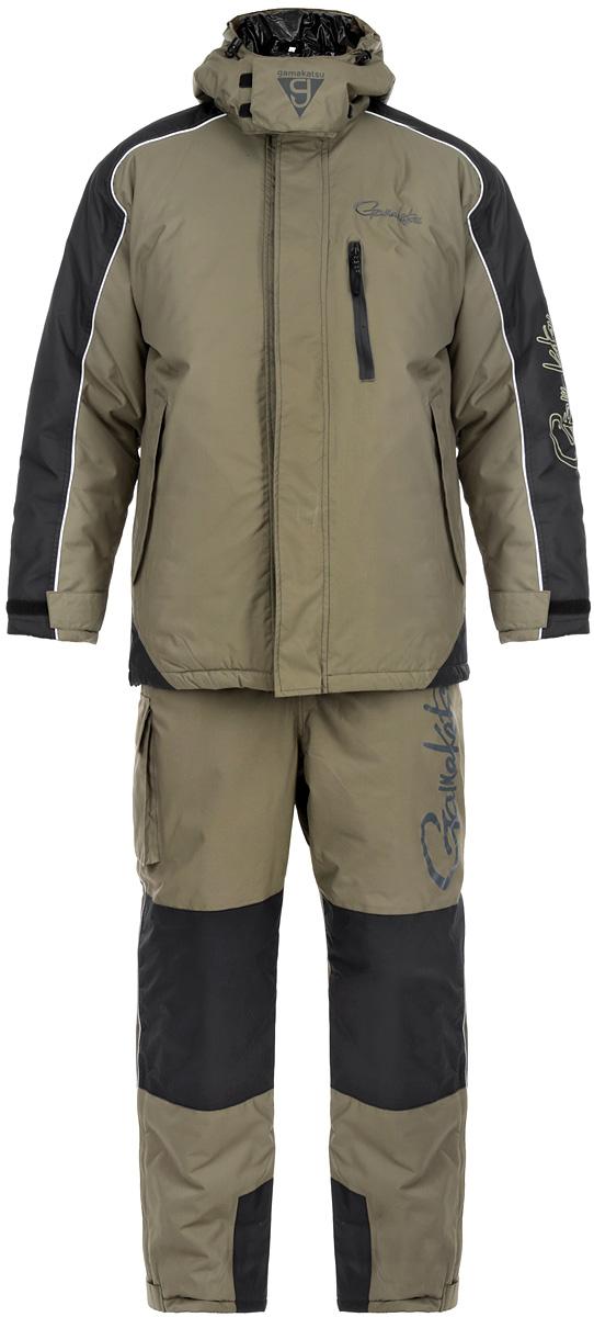 Костюм зимний мужской 3в1 Gamakatsu, цвет: хаки. 0050389. Размер XL (52/54)0050389 GAMAKATSU 3 in 1Костюм Gamakatsu, состоящий из верхней куртки, полукомбинезона и куртки-подстежки Ultralight, изготовлен из нейлона таслан. Костюм создан для сурового климата с экстремально низкими температурами. Его можно рекомендовать до -50°С. Температурный режим комфортной носки костюма можно варьировать от -5°С до -50°С, такой разброс достигается за счет съемной куртки Ultralight. Так же эту куртку можно использовать как верхнюю одежду при температуре от +5°С до -5°С. Качество костюма на очень высоком уровне, как вся продукция Gamakatsu.Костюм оснащен светоотражающими элементами, обеспечивая безопасность в темное время суток. Верхняя куртка прямого кроя со съемным регулируемым кулиской капюшоном с небольшим козырьком. Капюшон фиксируется под подбородком клапаном на липучке. Застегивается куртка на застежку-молнию и ветрозащитный клапан на липучках. Для большего комфорта основная подкладка выполнена из мягкого и теплого флиса. По низу расположена кулиса со стопперами. Рукава дополнены внутренними эластичными манжетами с хлястиками на липучках, а также внешними хлястиками на липучках, с помощью которых можно регулировать обхват рукавов понизу. На груди расположен один врезной карман на молнии, по бокам два прорезных кармана на молниях, прикрытые дополнительными клапанами. Также на внутренней стороне - один накладной вместительный карман на молнии.В комплект входит подстежка Ultralight, выполненная в виде утепленной куртки из нейлона, на подкладке из полиэстера. Куртка-подстежка служит дополнительным утеплителем и при необходимости снимается. Подстежка пристегивается к изнаночной стороне куртки с помощью пластиковых застежек-молний. Полукомбинезон имеет свободный, не стесняющий движения покрой. Высокая спинка надежно защищает спину от холодного воздуха. Резинка по талии позволяет надежно заправить свитер. Застегивается изделие на молнию и клапан на липучках. Широкие удобные эластичн