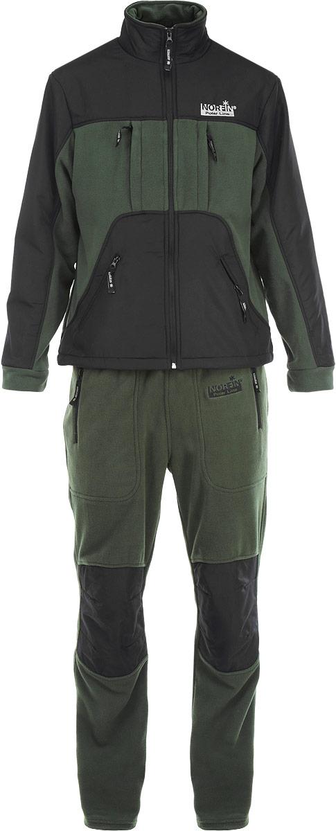 Костюм рыболовный33700Мягкий, прочный флисовый костюм Norfin Ultimate Protection состоит из куртки и брюк. Куртка с воротником-стойкой и застежкой-молнией имеет два теплых боковых кармана для согрева рук и два кармана на груди, в нижней части куртки имеется регулировка- стяжка с фиксаторами для дополнительной защиты от ветра и холода. Куртка оснащена внутренней сетчатой вентиляционной подкладкой. Брюки оформлены эластичным поясом с потайной кулиской и двумя втачными карманами. Также имеется усиление материалом на плечах, локтях и карманах и в области колен. Все карманы застегиваются на застежки-молнии. Костюм Norfin Ultimate Protection идеально подходит для отдыха на природе.