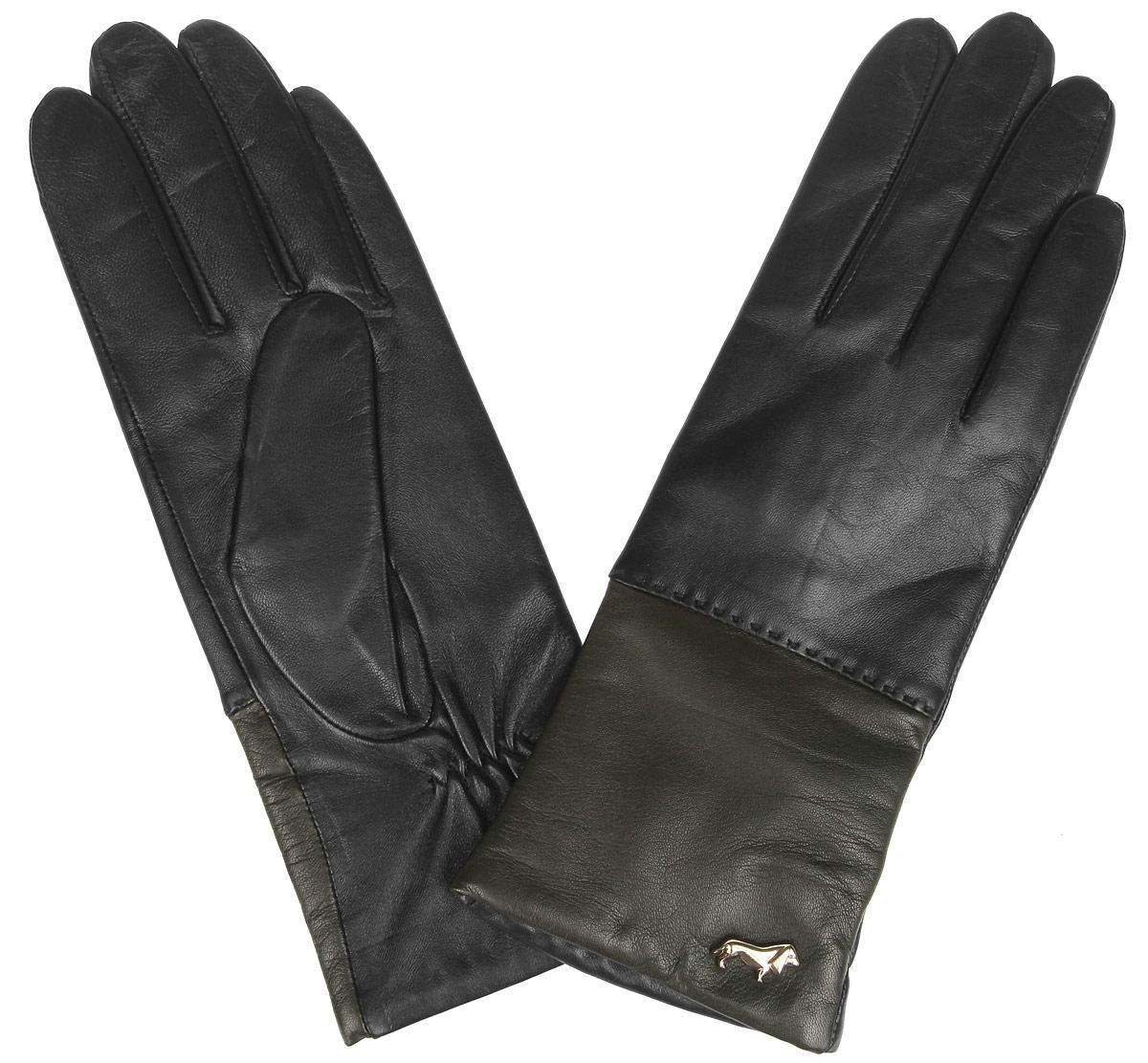 Перчатки женские Labbra, цвет: черный, оливковый. LB-7777. Размер 7LB-7777Женские перчатки Labbra не только защитят ваши руки от холода, но и станут стильным украшением. Перчатки выполнены из натуральной кожи ягненка. Они мягкие, максимально сохраняют тепло, идеально сидят на руке. Подкладка изделия изготовлена из шерсти с добавлением акрила.Лицевая сторона изделия дополнена декоративным элементом в виде логотипа бренда. На запястье модель присборена на небольшие эластичные резинки.Перчатки станут завершающим элементом вашего неповторимого стиля и подчеркнут вашу индивидуальность.