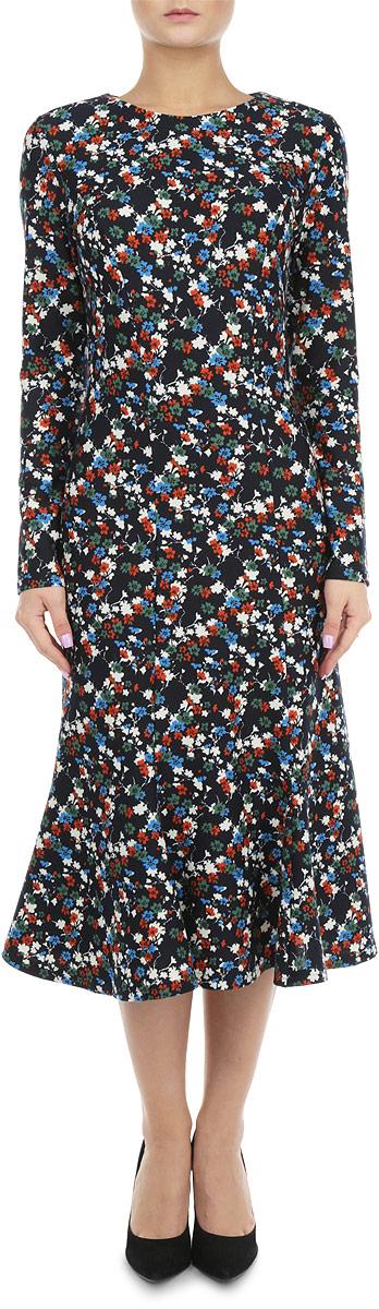 Платье676Элегантное платье Lautus выполнено из высококачественного комбинированного материала. Такое платье обеспечит вам комфорт и удобство при носке. Модель с длинными рукавами и круглым вырезом горловины выгодно подчеркнет все достоинства вашей фигуры благодаря приталенному силуэту. Платье оформлено оригинальным цветочным принтом. Изысканное платье-миди создаст обворожительный и неповторимый образ. Это модное и удобное платье станет превосходным дополнением к вашему гардеробу, оно подарит вам удобство и поможет вам подчеркнуть свой вкус и неповторимый стиль.