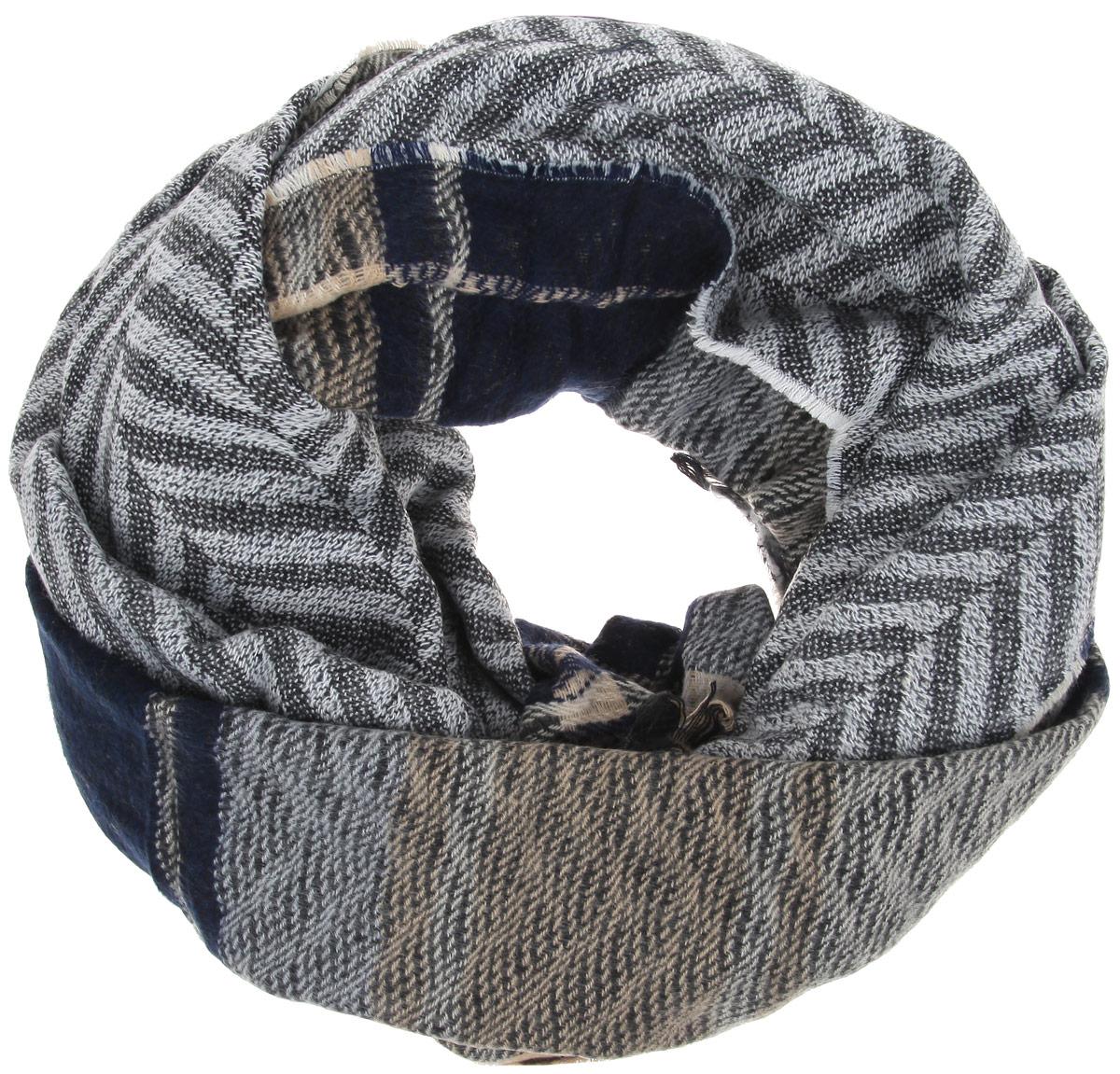 Палантин Sophie Ramage, цвет: бежевый, темно-синий, серый. YY-21538-3. Размер 60 см х 180 смYY-21538-3Палантин Sophie Ramage позволит вам создать неповторимый и запоминающийся образ. Благодаря своему составу, в который входит шерсть с добавлением акрила, он теплый, мягкий, имеет приятную на ощупь текстуру. Модель оформлена оригинальным вязаным рисунком, а по краям украшена бахромой. Такой аксессуар станет стильным дополнением к гардеробу современной женщины, а также подаритощущение комфорта, тепла и уюта в прохладную погоду.