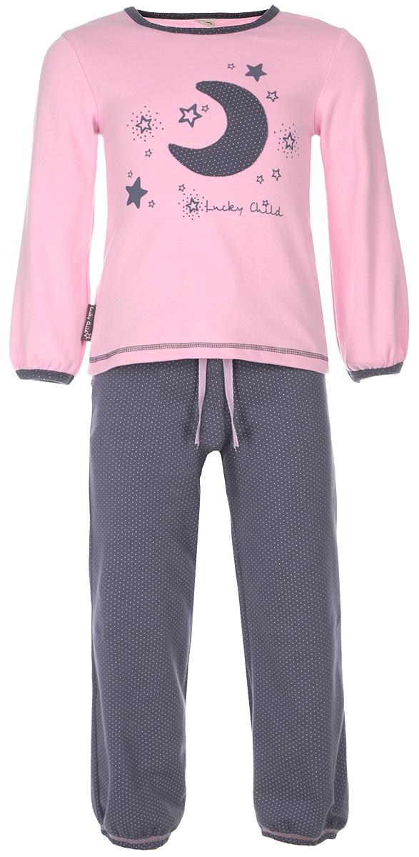 Пижама12-401Очаровательная пижама для девочки Lucky Child, состоящая из футболки с длинным рукавом и брюк, идеально подойдет вашей дочурке и станет отличным дополнением к детскому гардеробу. Изготовленная из натурального хлопка - интерлока, она необычайно мягкая и приятная на ощупь, не раздражает нежную кожу ребенка и хорошо вентилируется, а эластичные швы приятны телу и не препятствуют его движениям. Футболка с длинными рукавами и круглым вырезом горловины оформлена оригинальной аппликацией в виде месяца, а также принтом с изображением звездочек и названием бренда. Горловина и низ рукавов оформлены мелким гороховым принтом. Низ изделия оформлен контрастной фигурной прострочкой. Брюки на талии имеют широкий эластичный пояс со шнурком, благодаря чему они не сдавливают животик ребенка и не сползают. Низ брючин присборен на эластичные резинки. Оформлены брюки мелким гороховым принтом. Такая пижама идеально подойдет вашей дочурке, а мягкие полотна позволят ей комфортно...