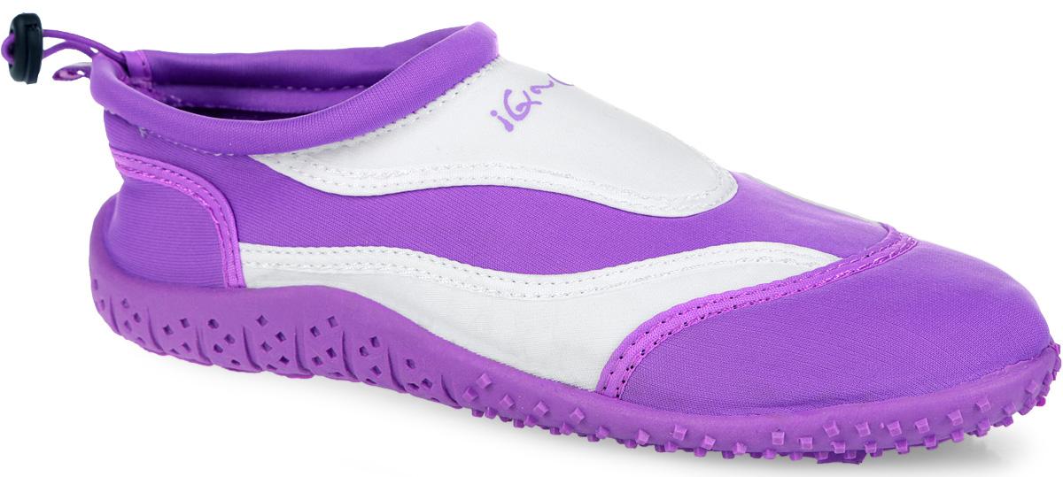 Обувь для кораллов женская iQ, цвет: белый, сиреневый. 332122-2337. Размер 39332122-2337Женская обувь для кораллов iQ предназначена для пляжного отдыха, плавания в открытой воде, а также для любых видов водного спорта. Модель выполнена из неопрена и дополнена в области щиколотки шнурком с фиксатором, который плотно и надежно закрепит обувь на ноге, предотвращая ее соскальзывание при плавании и занятиях водными видами спорта. Подкладка и стелька из текстиля обеспечат комфорт и уют ногам. Аквашузы очень легки и быстро сохнут. Задник дополнен ярлычком для более удобного надевания обуви. Литая резиновая подошва не скользит и защищает от порезов. Такие тапочкиидеально подойдут для активного отдыха на каменистых пляжах, хождению по кораллам или горячему песку, а также для занятий аквааэробикой в бассейне.