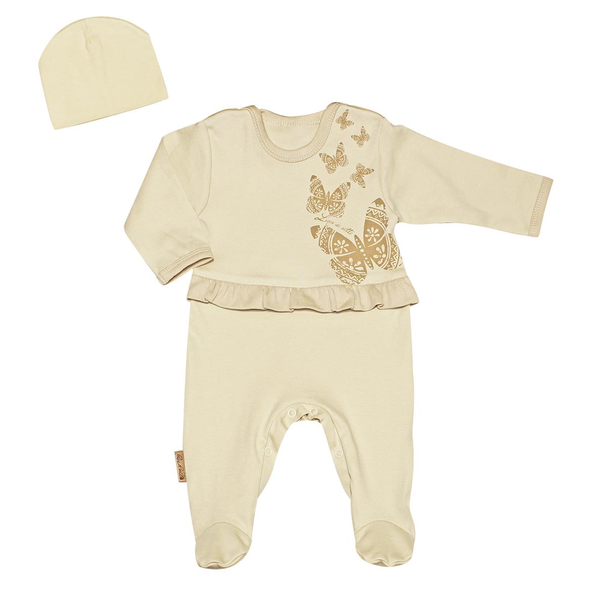 Комплект одежды03-3002Подарочный комплект для девочки Linea Di Sette Бабочка, состоящий из комбинезона и шапочки, станет отличным дополнением к гардеробу вашей малышки. Изготовленный из интерлока - органического хлопка, он необычайно мягкий и приятный на ощупь, не раздражает нежную кожу ребенка и хорошо вентилируется, а эластичные швы приятны телу младенца и не препятствуют его движениям. Комбинезон с длинными рукавами, круглым вырезом горловины и закрытыми ножками имеет застежки-кнопки на плечах и на ластовице, что помогает с легкостью переодеть ребенка или сменить подгузник. На талии модель дополнена неширокой оборкой. Оформлен комбинезон принтом с изображением бабочек. Мягкая, двойная шапочка, необходимая любому младенцу, защитит еще не заросший родничок. Она щадит чувствительный слух ребенка, прикрывая ушки, и предохраняет от теплопотерь. Шапочка не раздражает нежную кожу ребенка и хорошо вентилируется, а эластичные швы обеспечивают максимальный комфорт ребенку. Такой комплект...