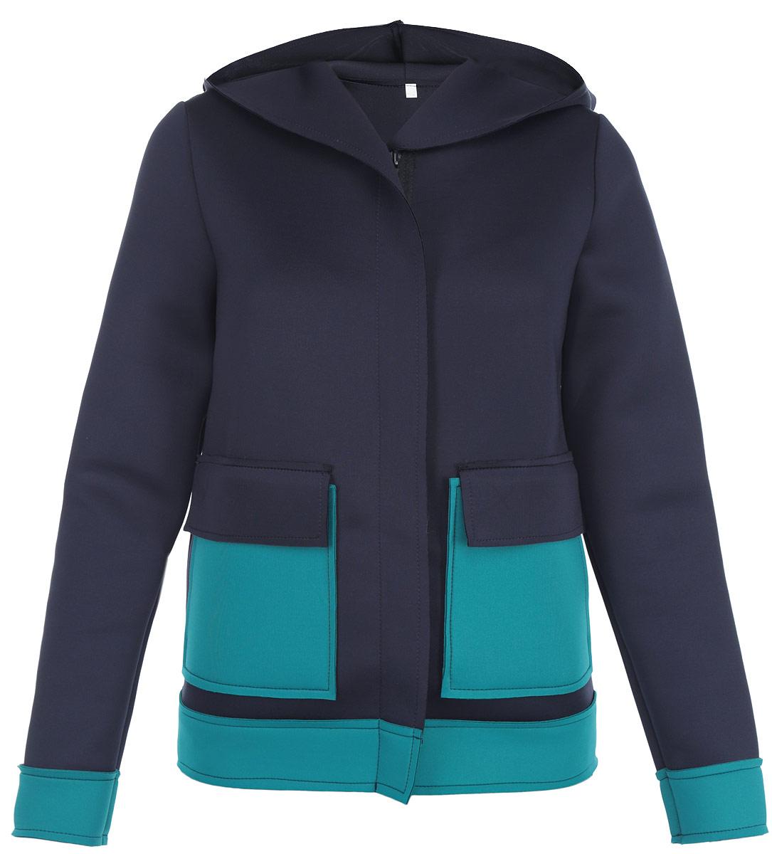 Жакет Milana Style, цвет: темно-синий, бирюзовый. м1001. Размер 42м1001Теплый жакет Milana Style, выполненный из уплотненного полиэстера, согреет вас в прохладную погоду. Модель прямого кроя с капюшоном и длинными рукавами застегивается на пластиковую-застежку-молнию и дополнительно ветрозащитной планкой. Спереди модель дополнена двумя накладными карманами. Этот уютный жакет станет отличным дополнением к вашему гардеробу.