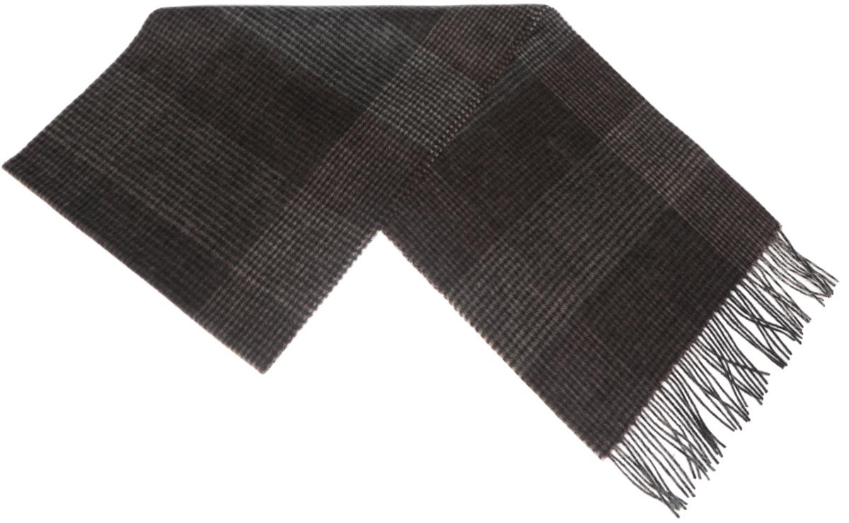 Шарф мужской Paccia, цвет: коричневый, серый, черный. TH-21524-11. Размер 30 см х 180 смTH-21524-11Стильный шарф Paccia согреет вас в прохладную погоду и станет отличным завершением вашего образа. Шарф изготовлен из натуральной шерсти и оформлен узором в мелкую клетку. Материал мягкий и приятный на ощупь, хорошо драпируется. Края шарфа декорированы кисточками, скрученными в жгутики.Этот модный аксессуар гармонично дополнит любой наряд и подчеркнет ваш изысканный вкус.