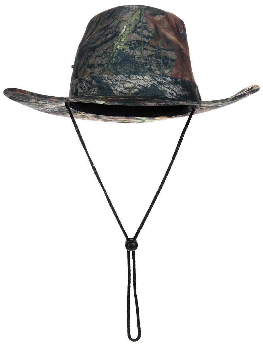 Шляпа2030040Широкополая шляпа Huntlandia - незаменимый аксессуар для охотника или туриста. Непромокаемая шляпа защитной расцветки выполнена из высококачественного материала и дополнена кнопками на тулье, благодаря которым вы сможете загнуть поля шляпы. Модель оснащена шнурком со стоппером, который позволяет надежно зафиксировать шляпу под подбородком или на шее, благодаря чему она не упадет даже при сильных порывах ветра. Легкая и удобная шляпа надежно защити вас от солнца, ветра и дождя и сделает летний отдых на природе незабываемым. Уважаемые клиенты! Размер, доступный для заказа, является обхватом головы.