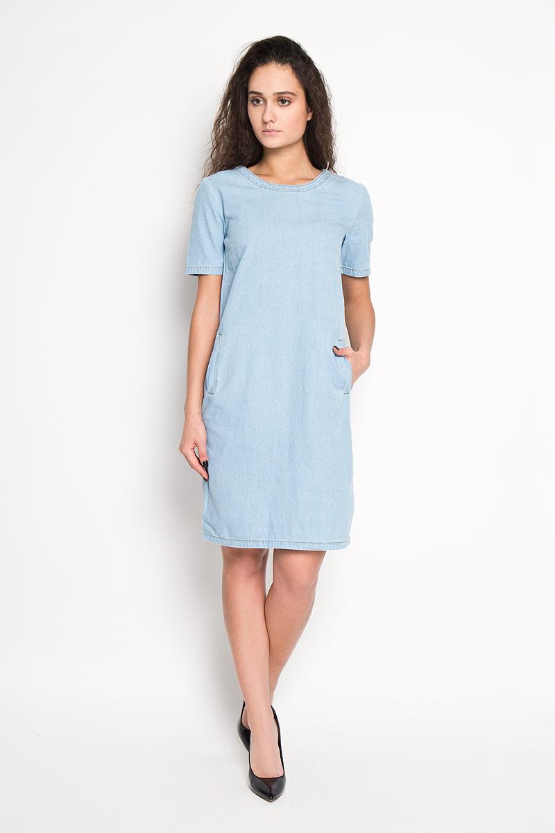 ПлатьеDjs-137/008-6142Элегантное платье Sela выполнено из высококачественного хлопка и оформлено под джинс. Такое платье обеспечит вам комфорт и удобство при носке. Модель с короткими рукавами и круглым вырезом горловины выгодно подчеркнет все достоинства вашей фигуры благодаря приталенному силуэту. Спереди платье дополнено двумя втачными карманами. Изысканное платье-миди создаст обворожительный и неповторимый образ. Это модное и удобное платье станет превосходным дополнением к вашему гардеробу, оно подарит вам удобство и поможет вам подчеркнуть свой вкус и неповторимый стиль.