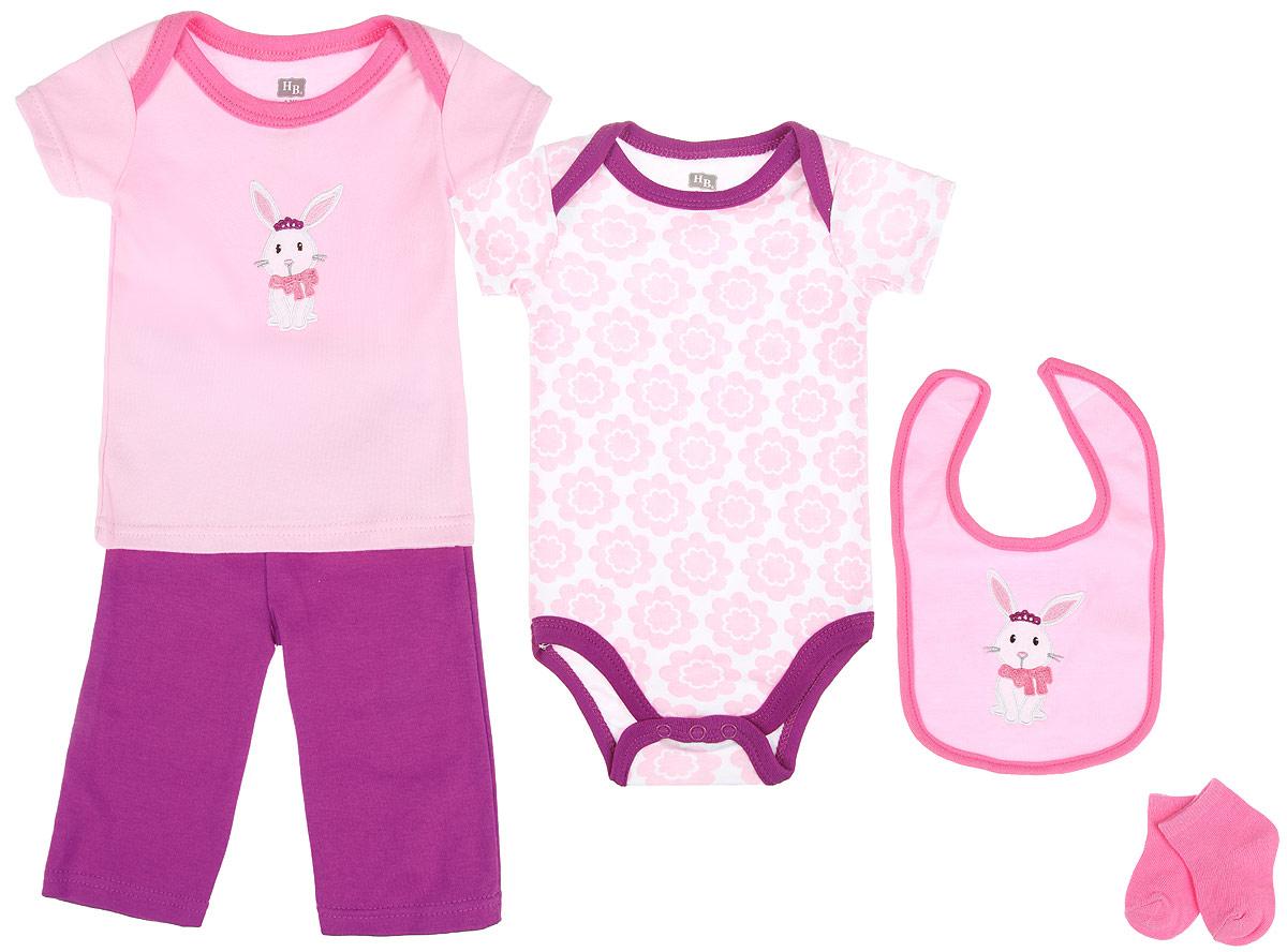 Комплект одежды58102Комплект для новорожденного Hudson Baby Зайка - это замечательный подарок, который прекрасно подойдет для первых дней жизни малышки. Комплект состоит из боди, футболки, штанишек, нагрудника и носочков. Одежда выполнена из натурального хлопка, не сковывает движения и позволяет коже дышать, не раздражает даже самую нежную и чувствительную кожу ребенка, обеспечивая ему наибольший комфорт. Носочки изготовлены из хлопка с добавлением нейлона и спандекса, нагрудник - из хлопка и полиэстера. Удобное боди с круглым вырезом горловины и короткими рукавами имеет специальные запахи на плечах и кнопки на ластовице, что значительно облегчает процесс переодевания ребенка и смену подгузника. Украшено изделие цветочным принтом. Футболка с короткими рукавами и круглым вырезом горловины также имеет запахи на плечах. Спереди модель дополнена нашивкой с изображением зайки. Штанишки на талии имеют мягкую резинку, не сдавливают животик малышки и не сползают. Они отлично ...