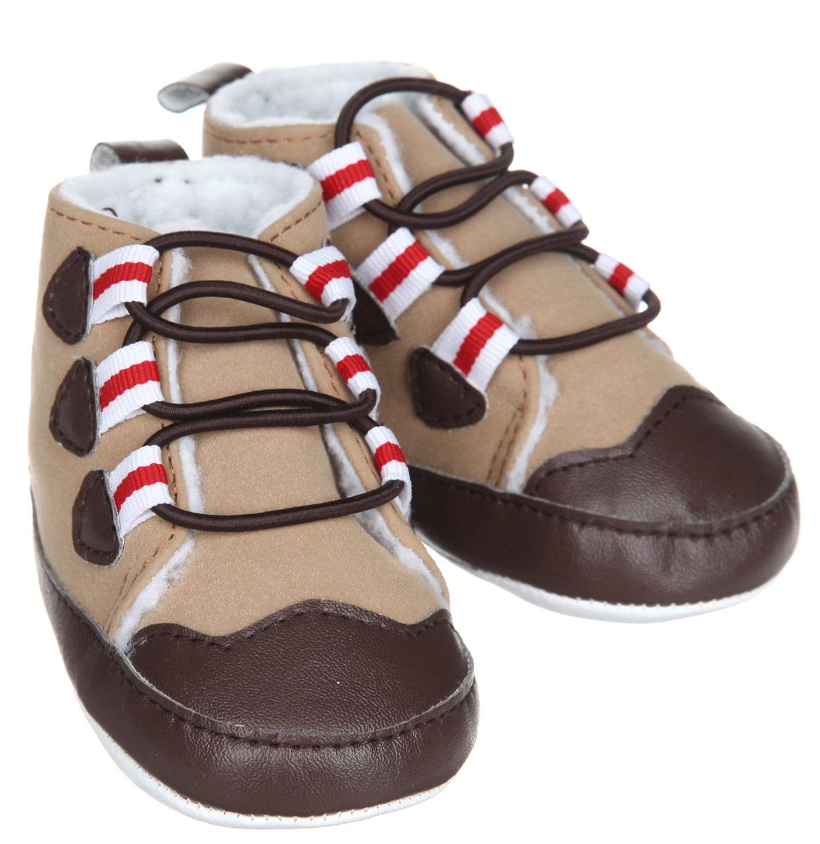 Пинетки для мальчика Luvable Friends Теплые ботинки, цвет: бежевый, коричневый, красный. 11781. Размер 12/18 месяцев11781Стильные пинетки для мальчика Luvable Friends Теплые ботинки отлично подойдут для носки в прохладную погоду. Изделие выполнено из искусственной замши. В качестве подкладки используется искусственная шерсть - шерпа, которая сохранит ножки ребенка в тепле.Модель дополнена эластичной шнуровкой, надежно фиксирующей пинетки на ножке младенца. На стопе предусмотрен прорезиненный рельефный рисунок, благодаря которому ребенок не будет скользить.Мягкие, не сдавливающие ножку материалы делают модель практичной и популярной. Такие пинетки - отличное решение для малышей и их родителей!
