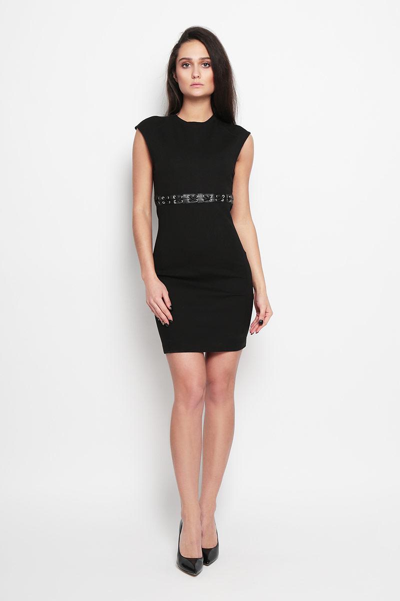 Платье Diesel, цвет: черный. 00SMWQ_0JAKR/900. Размер M (44)00SMWQ_0JAKRВеликолепное платье Diesel, выполненное из высококачественного плотного материала,покорит своим лаконичным дизайном. Платье приталенного кроя с короткими рукавами-реглан декорировано на талии шнуровкой и вставками из искусственной кожи. На спинке модельзастегивается на скрытую застежку-молнию и крючок. Это модное и в тожевремя комфортное платье послужит отличным дополнением к вашему гардеробу.В нем вы всегда будете чувствовать себя уютно и комфортно.