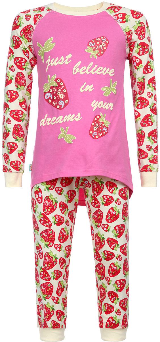 ПижамаAW15-UAT-GST-149Пижама для девочки KitFox, состоящая из футболки с длинным рукавом и брюк, идеально подойдет вашему ребенку. Пижама выполнена из хлопка c добавлением эластана, она очень мягкая и приятная на ощупь, не сковывает движения и позволяет коже дышать, не раздражает даже самую нежную и чувствительную кожу ребенка, обеспечивая ему наибольший комфорт. Футболка с длинными рукавами и круглым вырезом горловины оформлена ярким принтом с изображением ягод клубники и принтовыми надписями. Вырез горловины и манжеты на рукавах дополнены трикотажными эластичными резинками. Брюки на талии имеют эластичную резинку и текстильный шнурок, благодаря чему они не сдавливают животик ребенка и не сползают. Модель оформлена принтом в виде ягод клубники. Пижама станет отличным дополнением к детскому гардеробу. В ней ваш ребенок будет чувствовать себя комфортно и уютно во время сна.