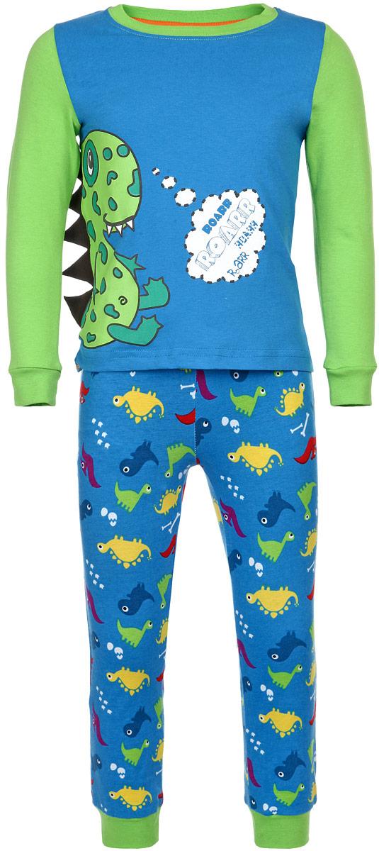 ПижамаAW15-UAT-BST-056Пижама для мальчика KitFox, состоящая из футболки с длинным рукавом и брюк, идеально подойдет вашему ребенку. Пижама выполнена из хлопка c добавлением эластана, она очень мягкая и приятная на ощупь, не сковывает движения и позволяет коже дышать, не раздражает даже самую нежную и чувствительную кожу ребенка, обеспечивая ему наибольший комфорт. Футболка с длинными рукавами и круглым вырезом горловины оформлена термоаппликацией с изображением забавного дракона. Вырез горловины и рукава дополнены трикотажными резинками. Брюки прямого кроя на талии имеют широкую эластичную резинку, которая не позволяет брюкам сползать, не сдавливая животик ребенка. Низ брючин дополнен широкими эластичными манжетами. Модель оформлена принтом с изображением драконов. В такой пижаме ваш ребенок будет чувствовать себя комфортно и уютно во время сна.