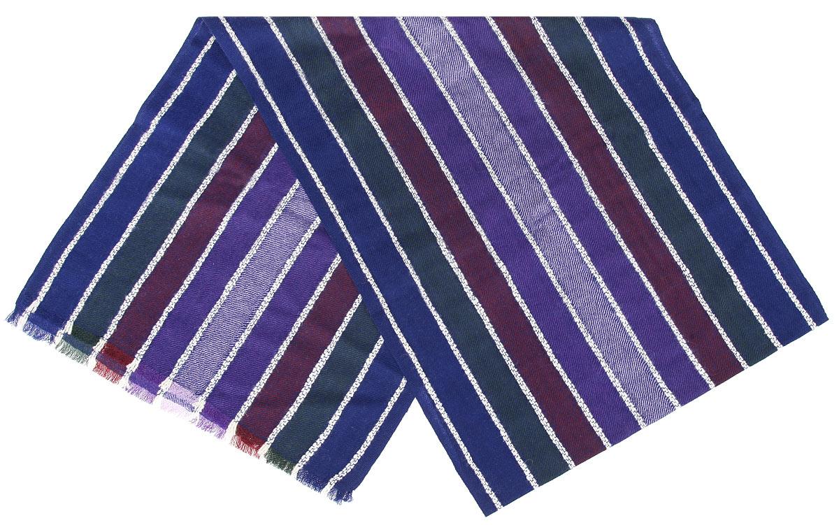 Шарф мужской Flioraj, цвет: синий, сиреневый, белый. 00050551. Размер 30 см х 160 см00050551Элегантный мужской шарф Flioraj согреет вас в холодное время года, а также станет изысканным аксессуаром, который призван подчеркнуть ваш стиль и индивидуальность. Теплый, мягкий, приятный на ощупь шарф не продувается и великолепно сохраняет тепло. Оригинальный и стильный шарф выполнен из высококачественной 100% мериносовой шерсти, оформлен узкими контрастными полосками и украшен тонкой бахромой по краям.Такой шарф станет превосходным дополнением к любому наряду, защитит вас от ветра и холода и позволит вам создать свой неповторимый стиль