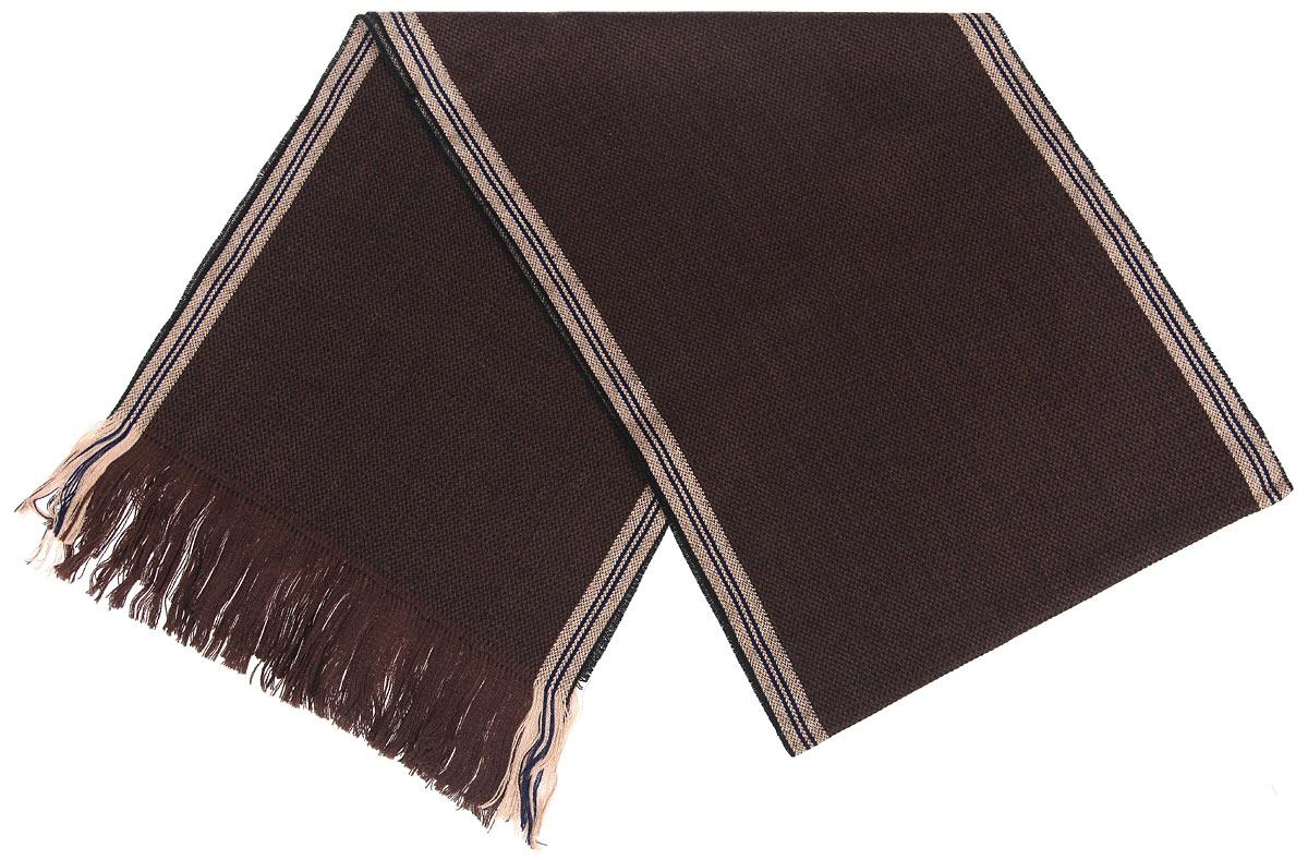 Шарф мужской Flioraj, цвет: темно-коричневый. 00050548. Размер 30 см х 160 см00050548Элегантный мужской шарф Flioraj согреет вас в холодное время года, а также станет изысканным аксессуаром, который призван подчеркнуть ваш стиль и индивидуальность. Теплый, мягкий, приятный на ощупь шарф не продувается и великолепно сохраняет тепло. Оригинальный и стильный шарф выполнен из высококачественной 100% мерсеризованной мериносовой шерсти и украшен длинной тонкой бахромой по краям.Такой шарф станет превосходным дополнением к любому наряду, защитит вас от ветра и холода и позволит вам создать свой неповторимый стиль