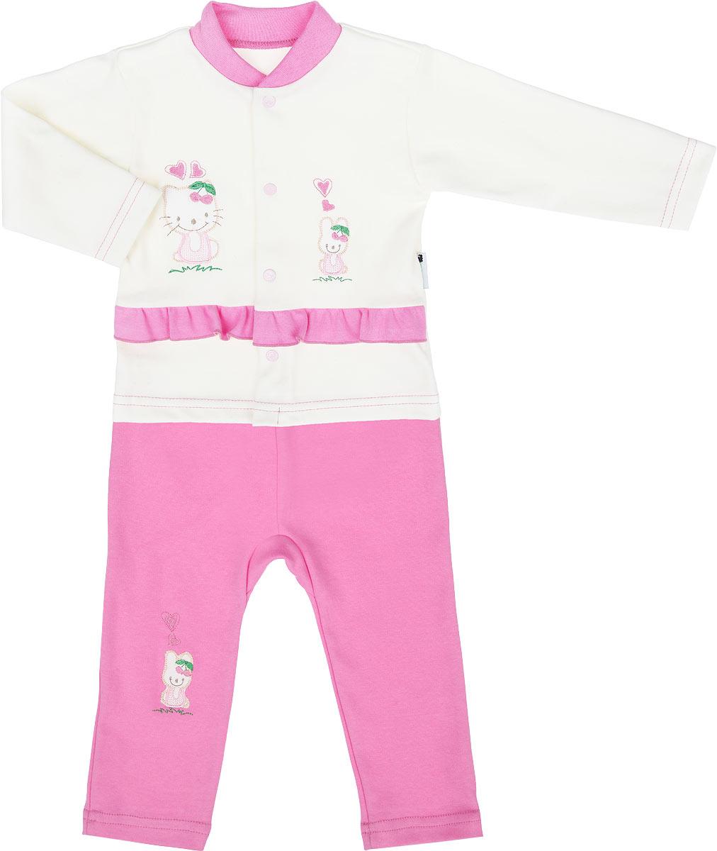 Комплект одежды37К-5602Очаровательный комплект для девочки Клякса, состоящий из кофточки и штанишек, идеально подойдет вашей малышке. Изготовленный из натурального хлопка, он необычайно мягкий и приятный на ощупь, не сковывает движения ребенка и позволяет коже дышать, не раздражает даже самую нежную и чувствительную кожу, обеспечивая наибольший комфорт. Кофточка с длинными рукавами и круглым вырезом горловины застегивается по всей длине на металлические кнопки, которые позволяют с легкостью переодеть ребенка. Воротник дополнен трикотажной эластичной резинкой. Оформлено изделие небольшими вышивками и украшено контрастной оборкой. Штанишки имеют широкий эластичный пояс, не сдавливающий животик ребенка. Правая штанина оформлена небольшой вышивкой. В таком комплекте ваша малышка будет чувствовать себя уютно и комфортно, и всегда будет в центре внимания.