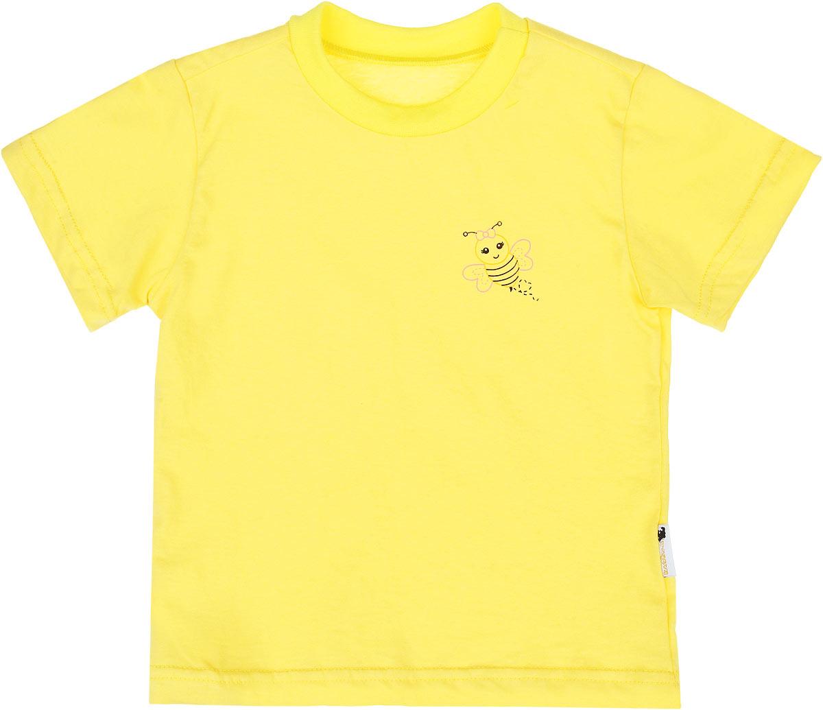 Футболка10-718Детская футболка Клякса идеально подойдет вашему ребенку. Изготовленная из натурального хлопка, она необычайно мягкая и приятная на ощупь, не сковывает движения ребенка и позволяет коже дышать, не раздражает даже самую нежную и чувствительную кожу, обеспечивая наибольший комфорт. Футболка с круглым вырезом горловины и короткими рукавами оформлена на груди небольшим принтом с изображением пчелки. Вырез горловины дополнен эластичной трикотажной резинкой.