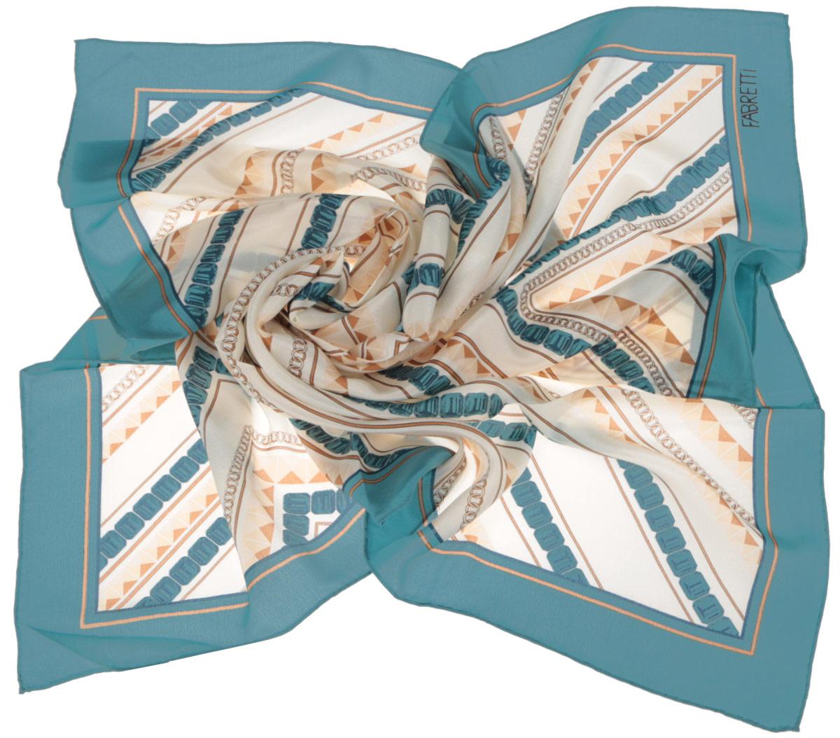 Платок женский Fabretti, цвет: бирюзовый, бежевый. CX1516-51-1. Размер 53 см х 53 смCX1516-51-1Стильный женский платок Fabretti станет великолепным завершением любого наряда. Платок изготовлен из высококачественного 100% шелка и оформлен оригинальным геометрическим принтом.Классическая квадратная форма позволяет носить платок на шее, украшать им прическу или декорировать сумочку. Мягкий и шелковистый платок поможет вам создать изысканный женственный образ, а также согреет в непогоду. Такой платок превосходно дополнит любой наряд и подчеркнет ваш неповторимый вкус и элегантность.