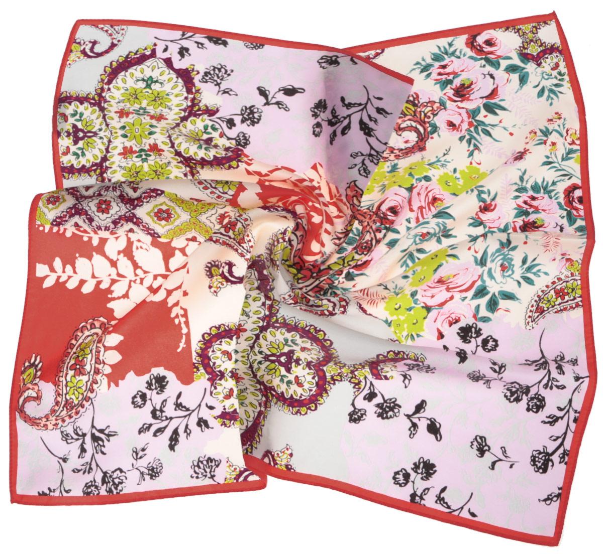 ПлатокCX1516-65-9Стильный женский платок Fabretti станет великолепным завершением любого наряда. Платок изготовлен из высококачественного шелка и оформлен изысканным цветочным орнаментом. Классическая квадратная форма позволяет носить платок на шее, украшать им прическу или декорировать сумочку. Мягкий и шелковистый платок поможет вам создать изысканный женственный образ, а также согреет в непогоду. Такой платок превосходно дополнит любой наряд и подчеркнет ваш неповторимый вкус и элегантность.