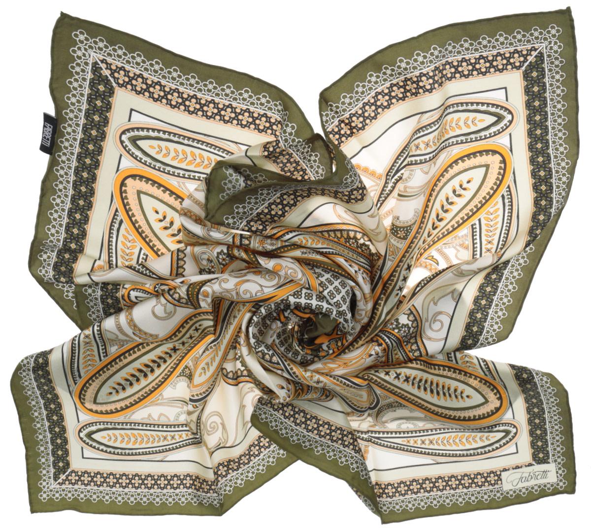 ПлатокCX1516-52-5Стильный женский платок Fabretti станет великолепным завершением любого наряда. Платок изготовлен из высококачественного 100% шелка и оформлен изысканным этническим принтом в индийском стиле. Классическая квадратная форма позволяет носить платок на шее, украшать им прическу или декорировать сумочку. Мягкий и шелковистый платок поможет вам создать изысканный женственный образ, а также согреет в непогоду. Такой платок превосходно дополнит любой наряд и подчеркнет ваш неповторимый вкус и элегантность.