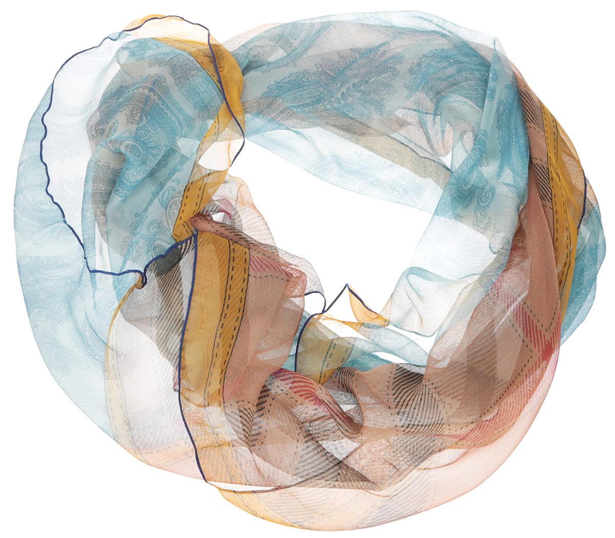 Шарф женский Fabretti, цвет: голубой, бежевый, желтый. RL0068-2. Размер 175 см х 95 смRL0068-2Женский шарф Fabretti позволит вам создать неповторимый и запоминающийся образ. Изготовленный из высококачественных материалов, он очень тонкий и легкий, имеет приятную на ощупь текстуру. Модель оформлена принтом в клетку, а также принтом с узорами. Такой аксессуар станет стильным дополнением к гардеробу современной женщины, стремящейся всегда оставаться яркой и элегантной.