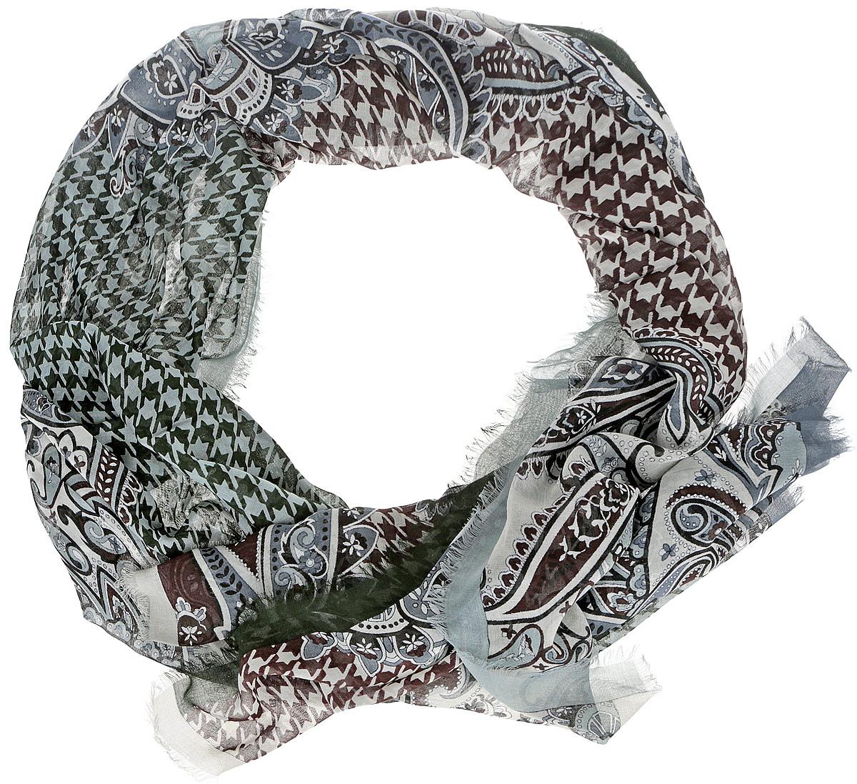 Шарф женский Leo Ventoni, цвет: темно-зеленый, белый. CX1516-55-10. Размер 180 см х 90 смCX1516-55-10Модный женский шарф Leo Ventoni подарит вам уют и станет стильным аксессуаром, который призван подчеркнуть вашу индивидуальность и женственность. Тонкий шарф выполнен из высококачественного 100% модала, он невероятно мягкий и приятный на ощупь. Шарф оформлен тонкой бахромой по краю и украшен принтом в мелкую клетку с изображением изысканных этнических узоров.Этот модный аксессуар гармонично дополнит образ современной женщины, следящей за своим имиджем и стремящейся всегда оставаться стильной и элегантной. Такой шарф украсит любой наряд и согреет вас в непогоду, с ним вы всегда будете выглядеть изысканно и оригинально.
