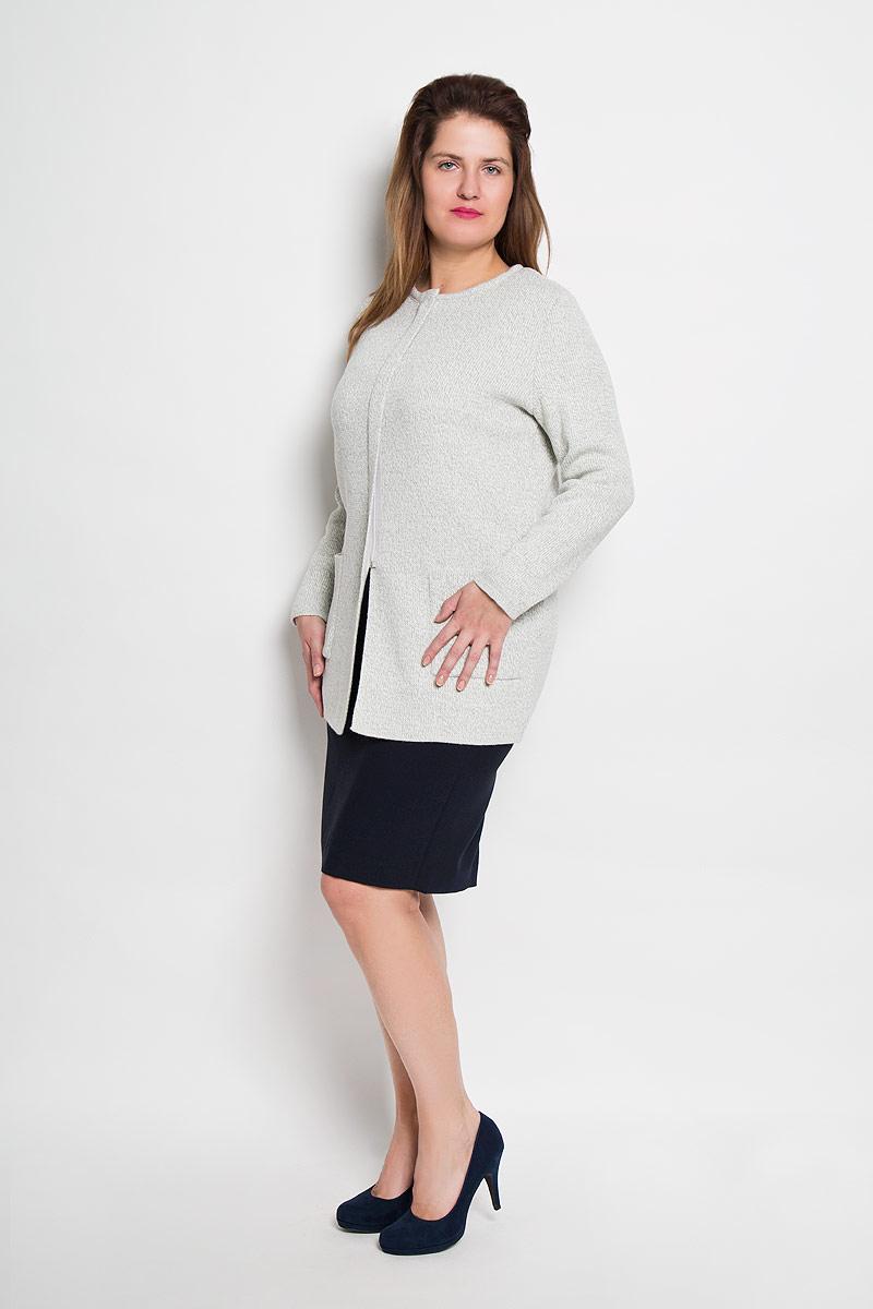 Кардиган женский Milana Style, цвет: серый меланж. 906. Размер 58906Теплый кардиган Milana Style, выполненный из высококачественного плотного материала, согреет вас в прохладную погоду. Модель прямого кроя с круглым вырезом горловины и длинными рукавами застегивается на пластиковую застежку-молнию прикрытую планкой. Спереди изделие дополнено двумя накладными карманами. Этот уютный кардиган станет отличным дополнением к вашему гардеробу.
