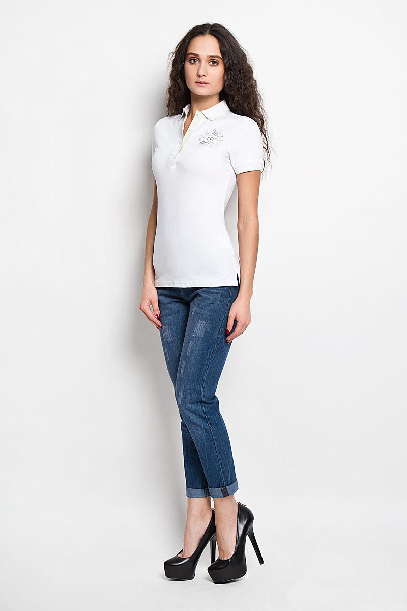 ПолоB206201Стильная женская футболка-поло Baon, изготовленная из высококачественного эластичного хлопка, обладает высокой теплопроводностью, воздухопроницаемостью и гигроскопичностью, позволяет коже дышать. Модель с короткими рукавами и отложным воротником - идеальный вариант для создания оригинального современного образа. Сверху футболка-поло застегивается на 3 пуговицы. Футболка-поло оформлена вышивкой с логотипом Baon. Такая модель подарит вам комфорт в течение всего дня и послужит замечательным дополнением к вашему гардеробу.