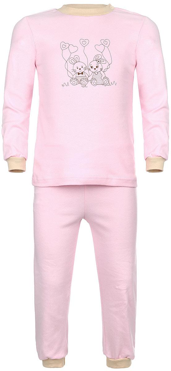 Пижама3289Детская пижама КотМарКот, состоящая из футболки с длинным рукавом и брюк, идеально подойдет вашему ребенку и станет отличным дополнением к его гардеробу. Выполненная из натурального хлопка, она необычайно мягкая и легкая, не сковывает движения, позволяет коже дышать и не раздражает даже самую нежную и чувствительную кожу ребенка. Футболка с длинными рукавами и круглым вырезом горловины имеет застежки-кнопки по плечевому шву, что помогает с легкостью переодеть ребенка. Вырез горловины и манжеты на рукавах дополнены трикотажными эластичными резинками. Модель оформлена принтом с изображением очаровательных зайчат. Брюки прямого кроя на талии имеют эластичную резинку, благодаря чему они не сдавливают животик ребенка и не сползают. Низ брючин дополнен широкими трикотажными манжетами. В такой пижаме ваш ребенок будет чувствовать себя комфортно и уютно во время сна.